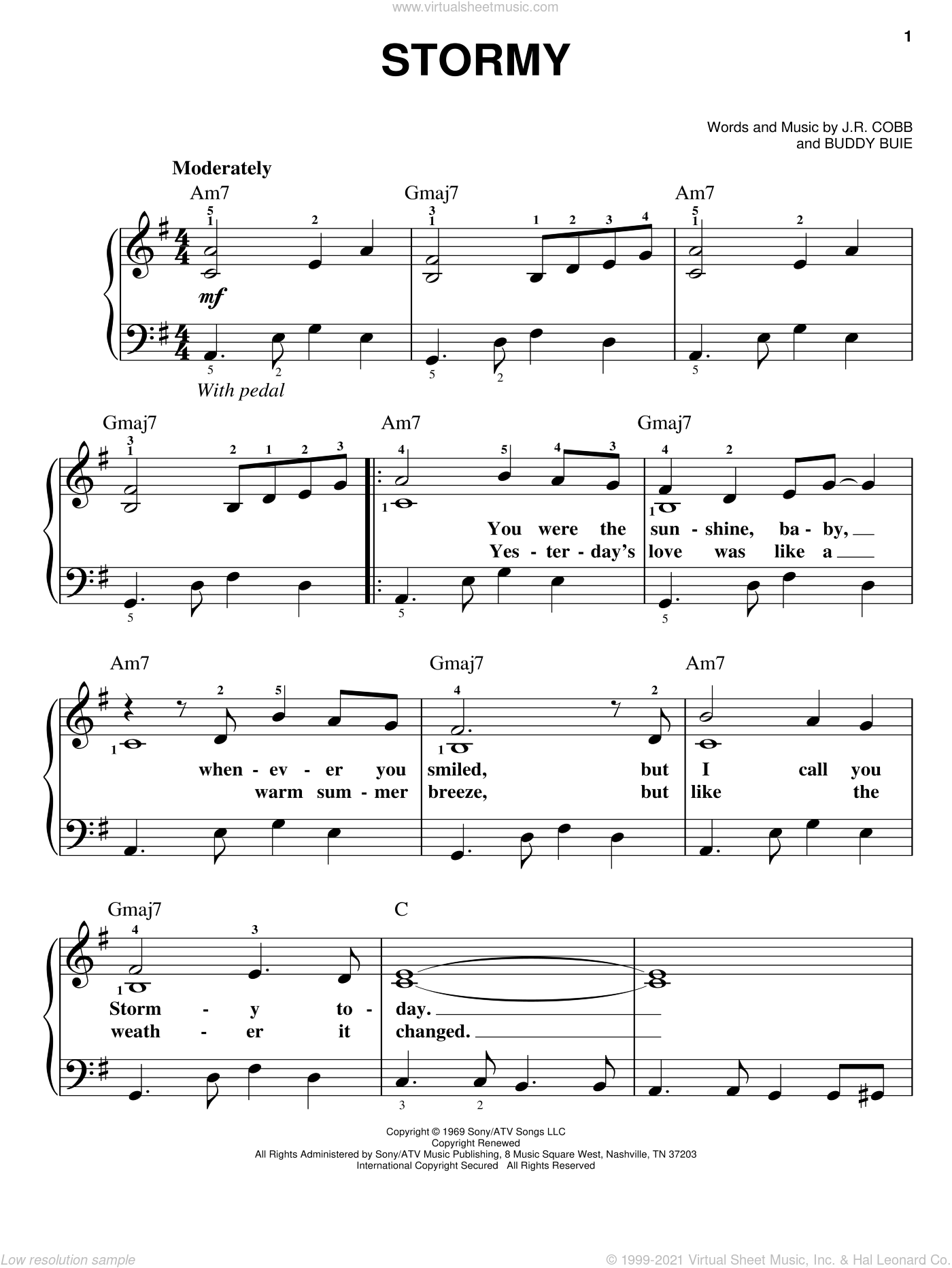 Stormy sheet music for piano solo by Classics IV, Buddy Buie and J.R. Cobb, easy skill level