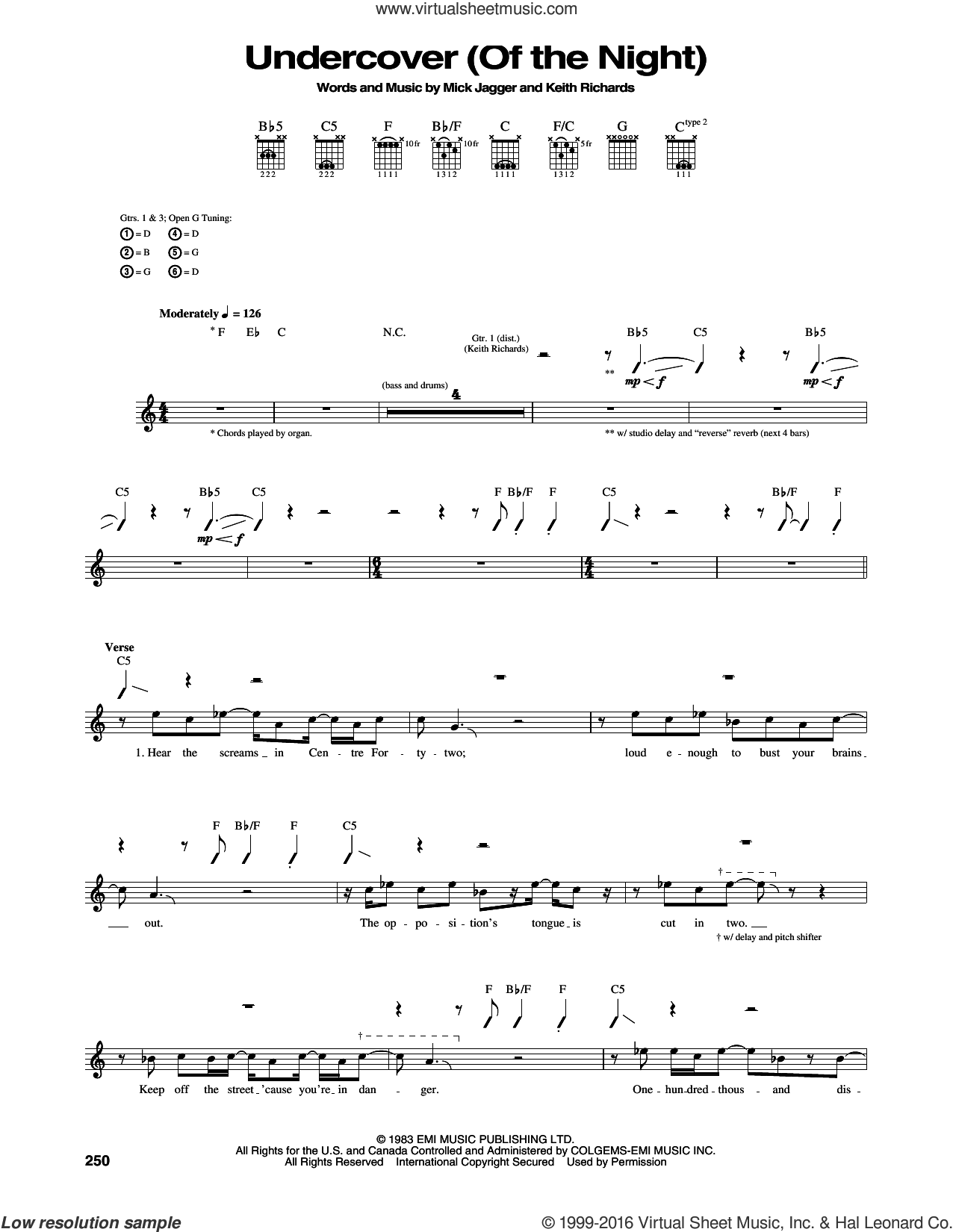 Undercover (Of The Night) sheet music for guitar (tablature) by The Rolling Stones, Keith Richards and Mick Jagger, intermediate skill level