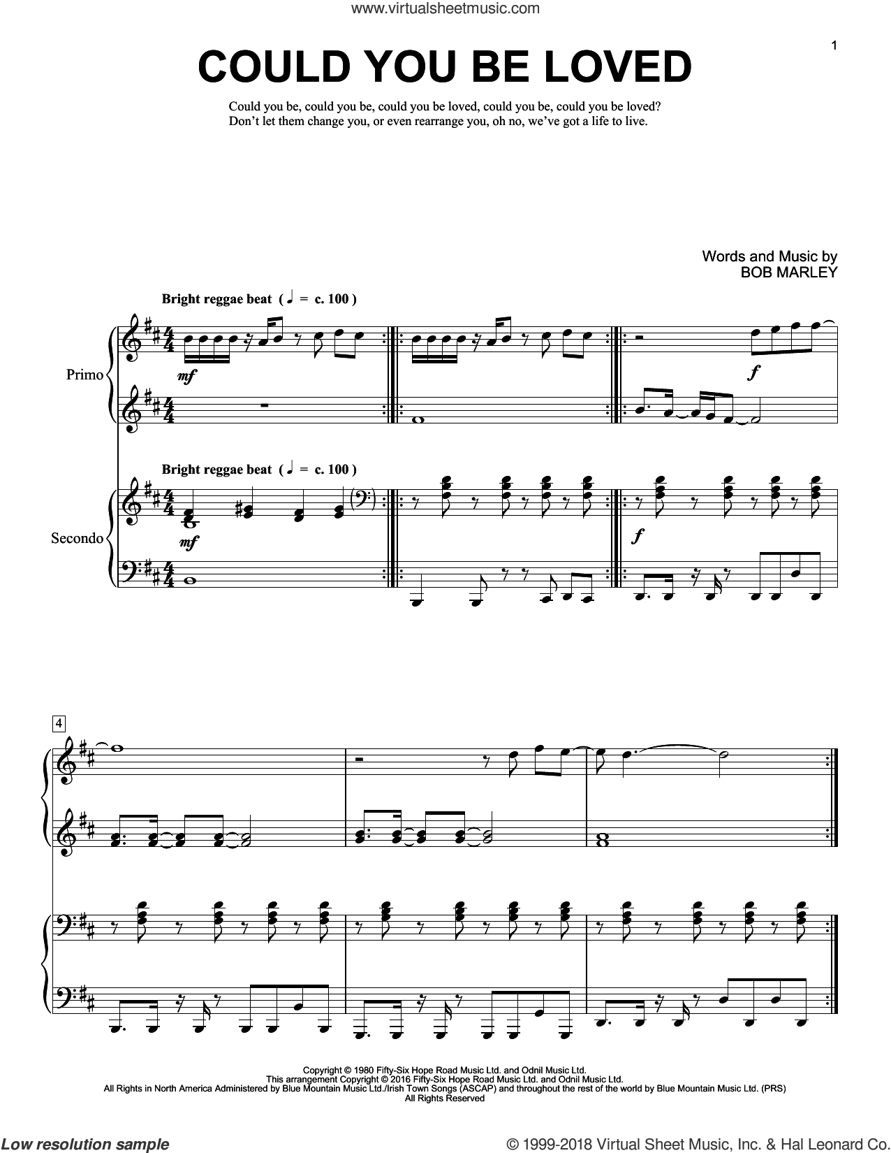Could You Be Loved sheet music for piano four hands by Bob Marley, Brent Edstrom and Bob Marley and The Wailers, intermediate skill level