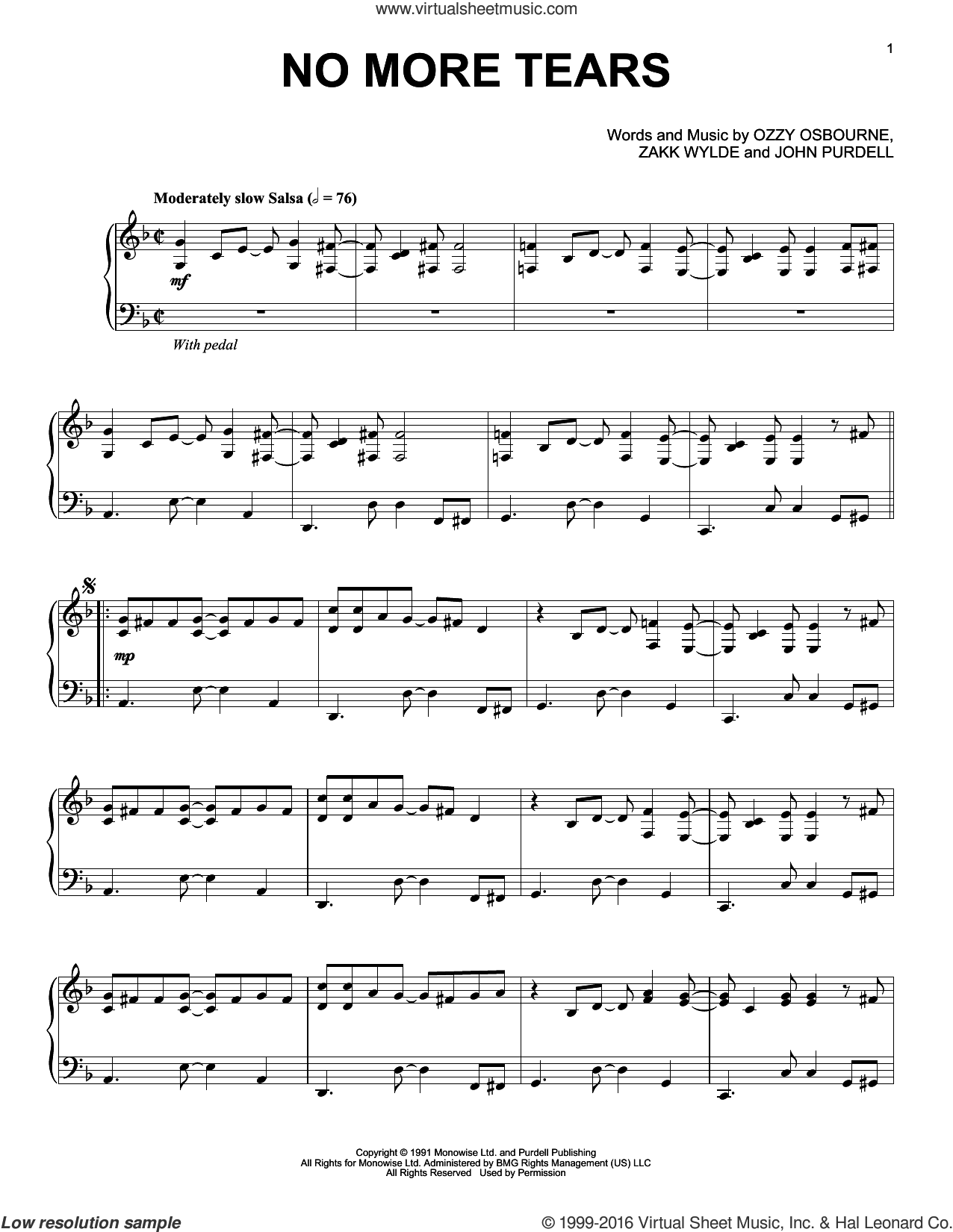 No More Tears sheet music for piano solo by Ozzy Osbourne, John Purdell and Zakk Wylde, intermediate skill level