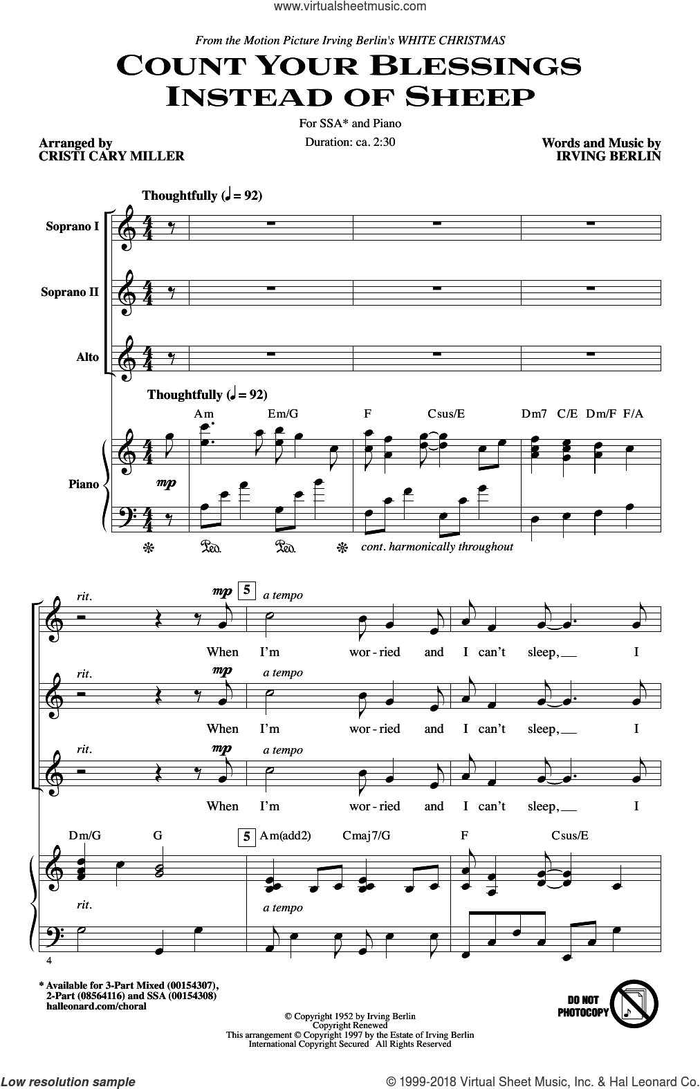 Count Your Blessings Instead Of Sheep (arr. Cristi Cary Miller) sheet music for choir (SSA: soprano, alto) by Irving Berlin, Cristi Cary Miller, Cristi Miller, Bing Crosby and Rosemary Clooney and Eddie Fisher, intermediate skill level