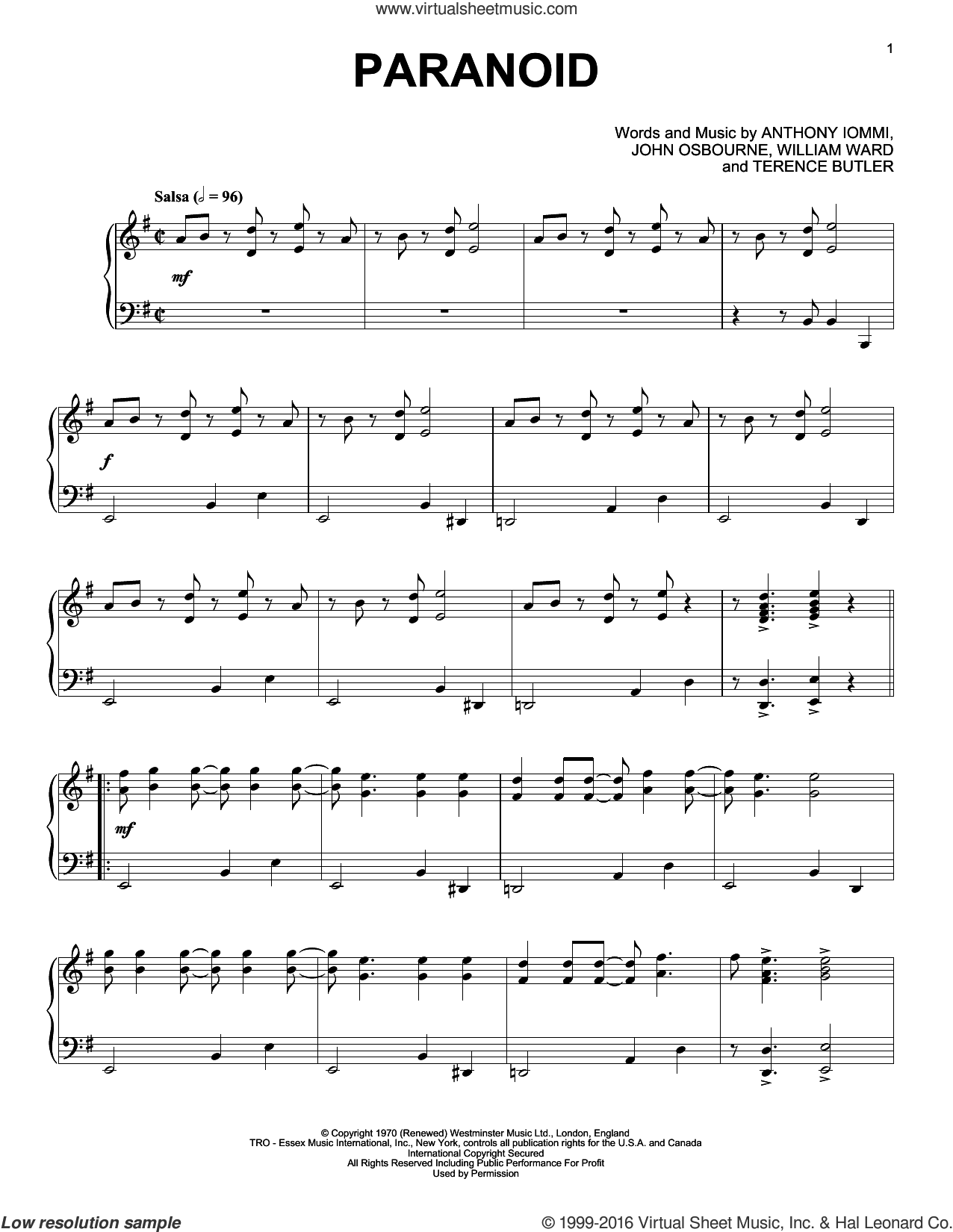 Paranoid sheet music for piano solo by Black Sabbath, Ozzy Osbourne, Anthony Iommi, John Osbourne, Terence Butler and William Ward, intermediate skill level