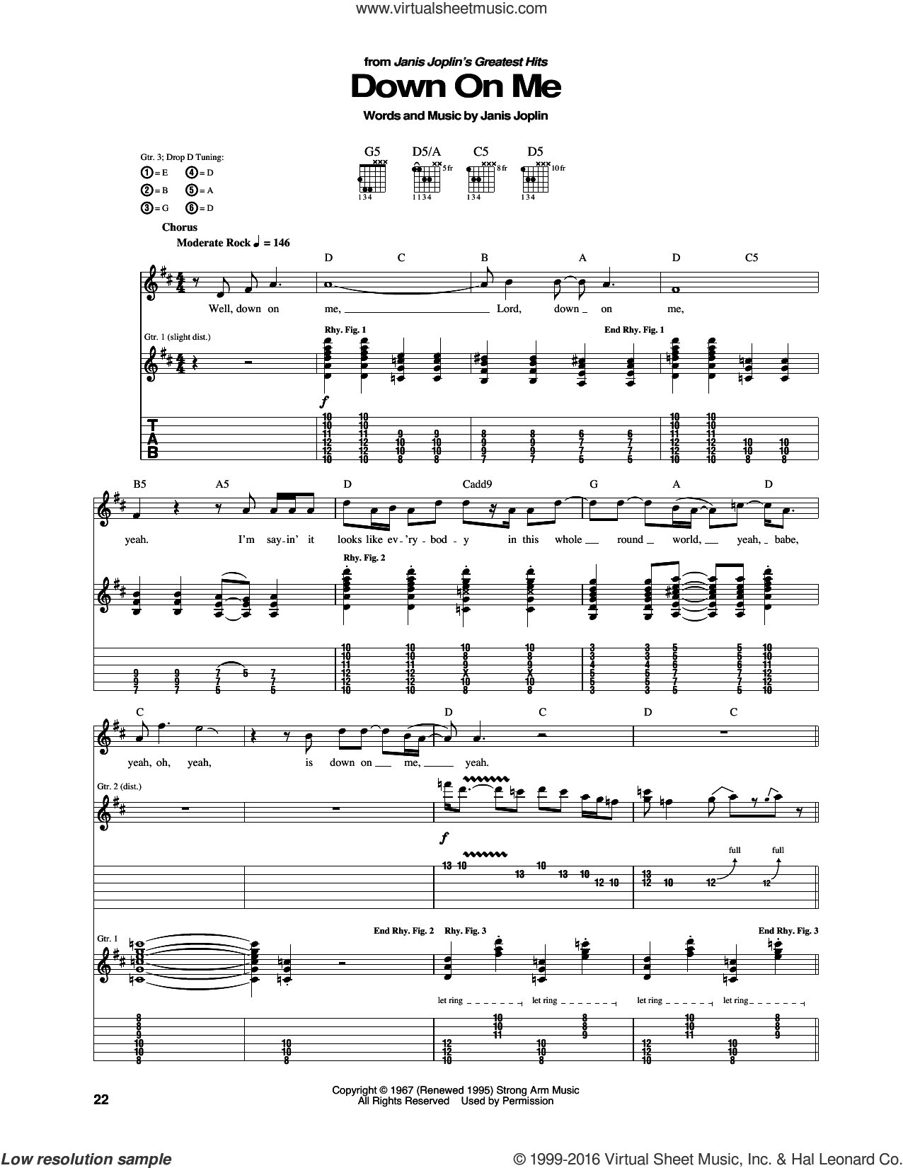 Down On Me sheet music for guitar (tablature) by Janis Joplin. Score Image Preview.