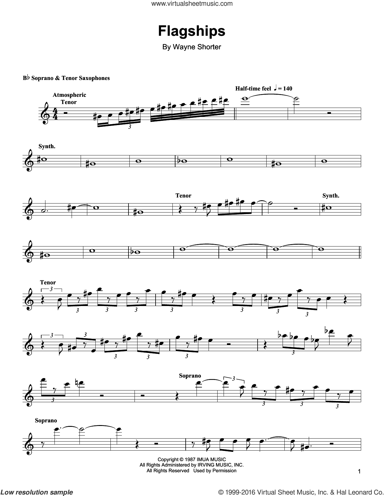 Flagships sheet music for soprano saxophone solo (transcription) by Wayne Shorter, intermediate soprano saxophone (transcription)