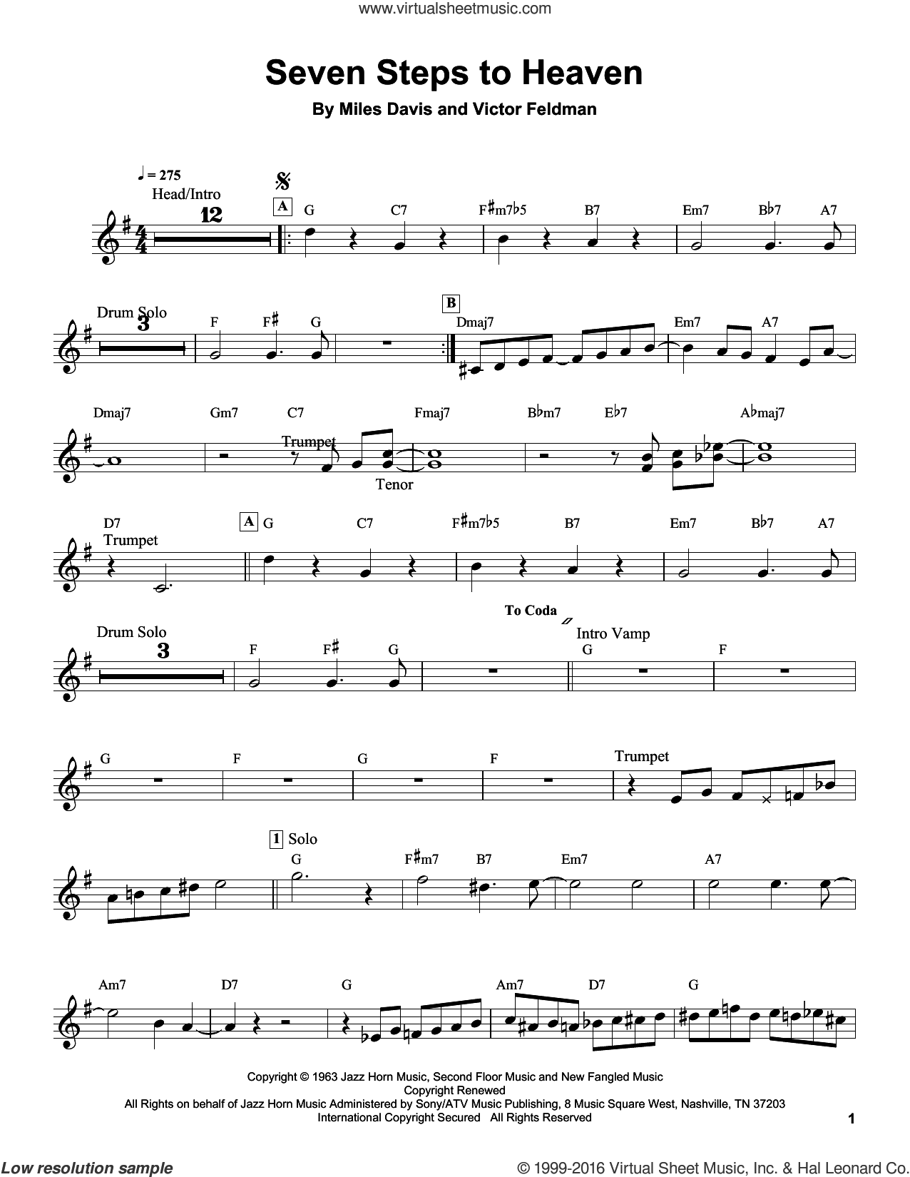 Seven Steps To Heaven sheet music for trumpet solo (transcription) by Miles Davis. Score Image Preview.