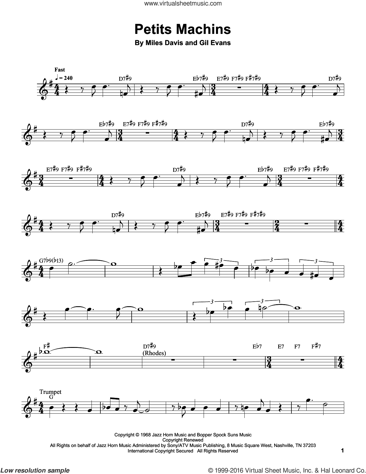 Petits Machins sheet music for trumpet solo (transcription) by Miles Davis and Gil Evans, intermediate trumpet (transcription)