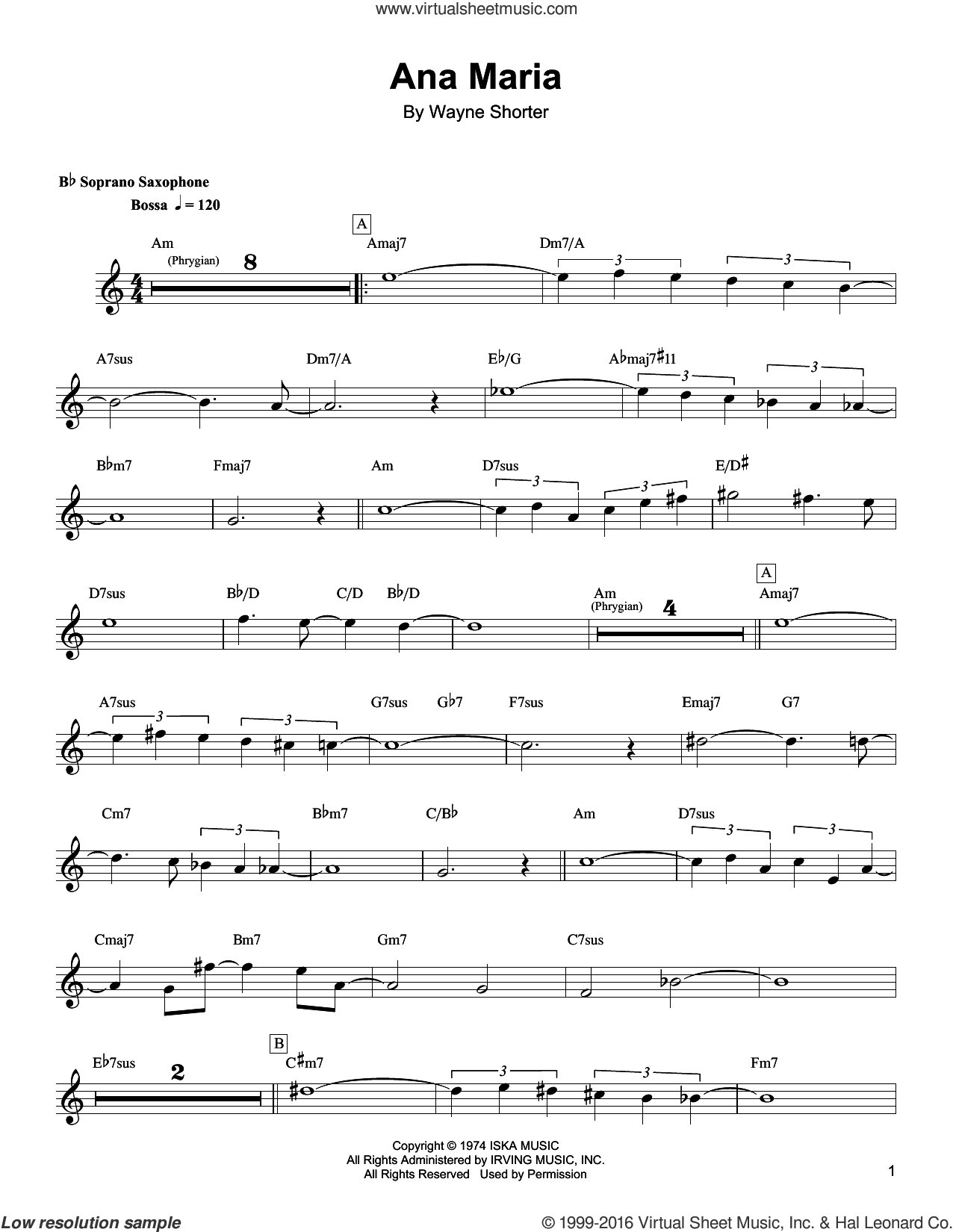 Ana Maria sheet music for soprano saxophone solo (transcription) by Wayne Shorter. Score Image Preview.