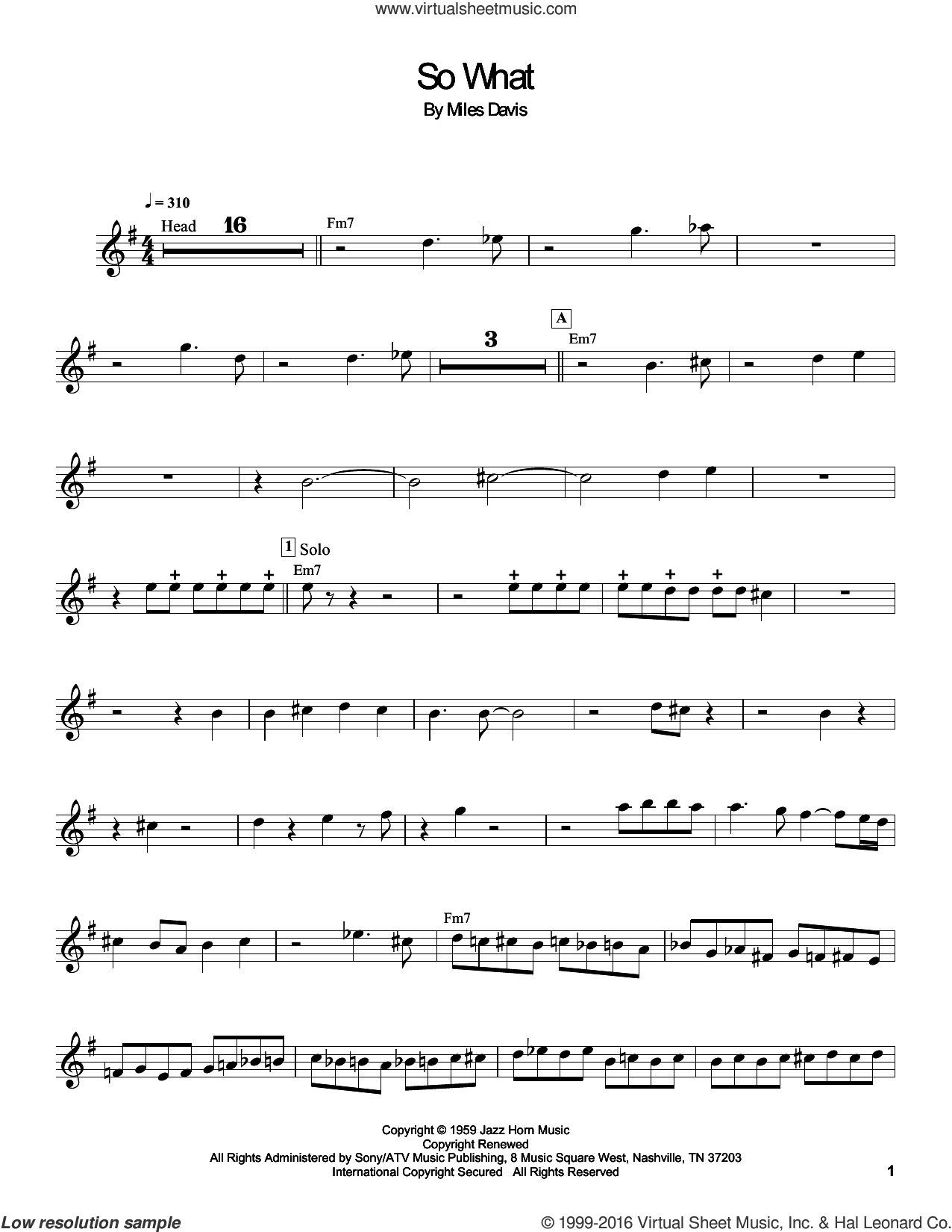 So What sheet music for trumpet solo (transcription) by Miles Davis, intermediate trumpet (transcription). Score Image Preview.