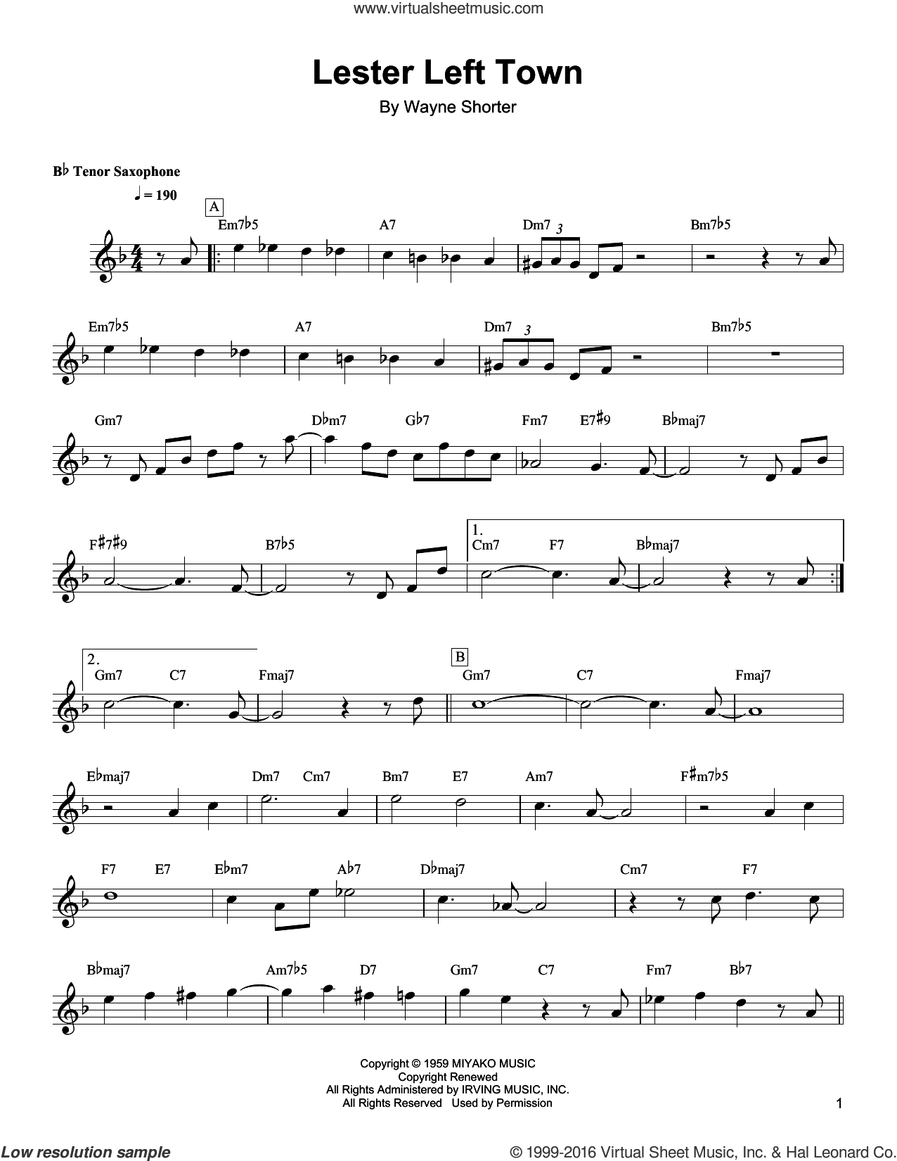 Lester Left Town sheet music for tenor saxophone solo (transcription) by Wayne Shorter. Score Image Preview.