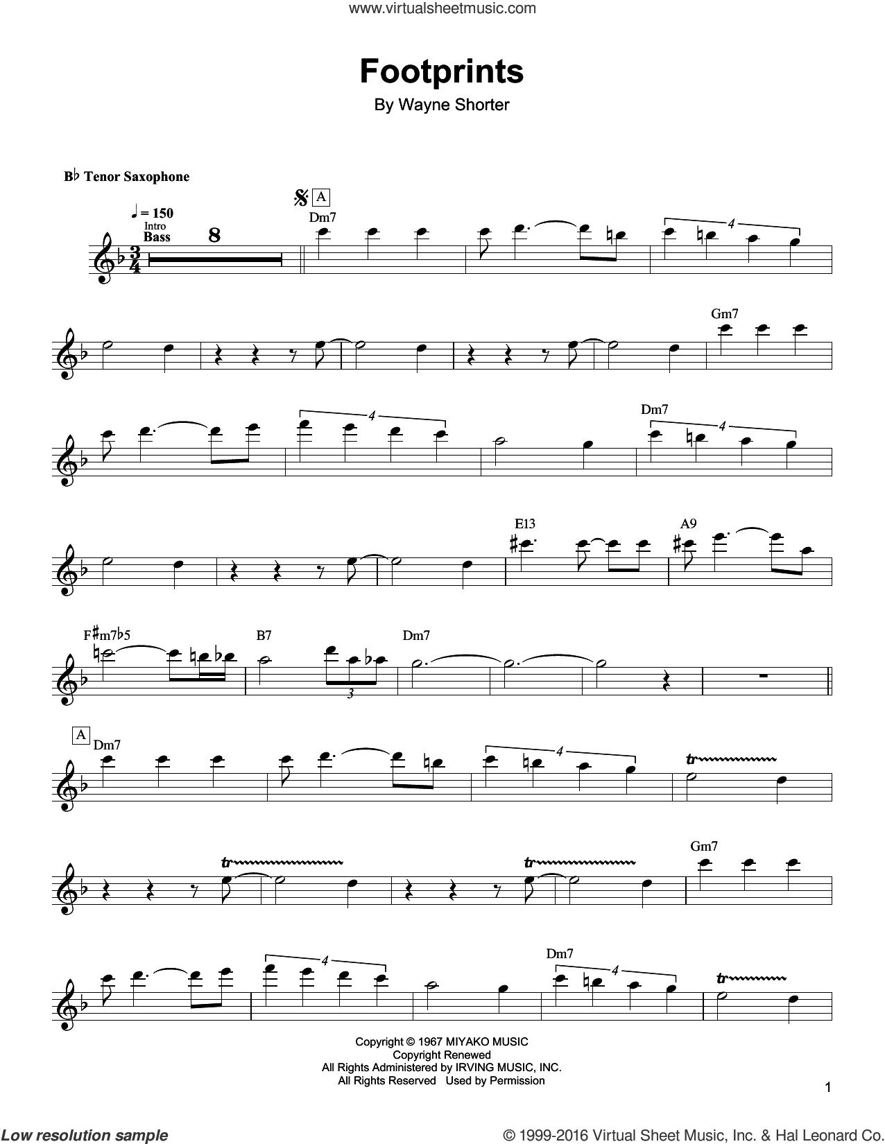 Footprints sheet music for tenor saxophone solo (transcription) by Wayne Shorter