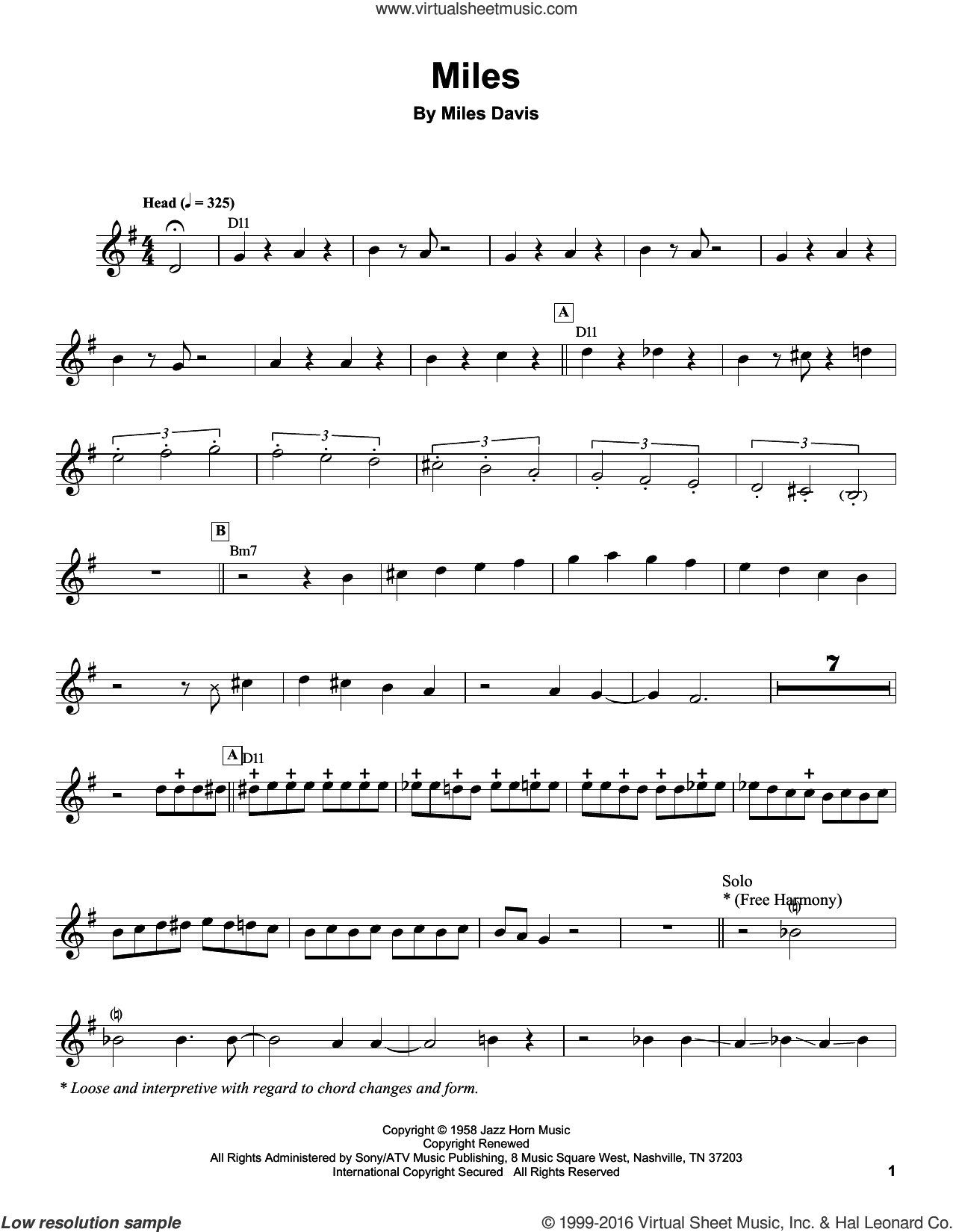 Miles sheet music for trumpet solo (transcription) by Miles Davis, intermediate trumpet (transcription)