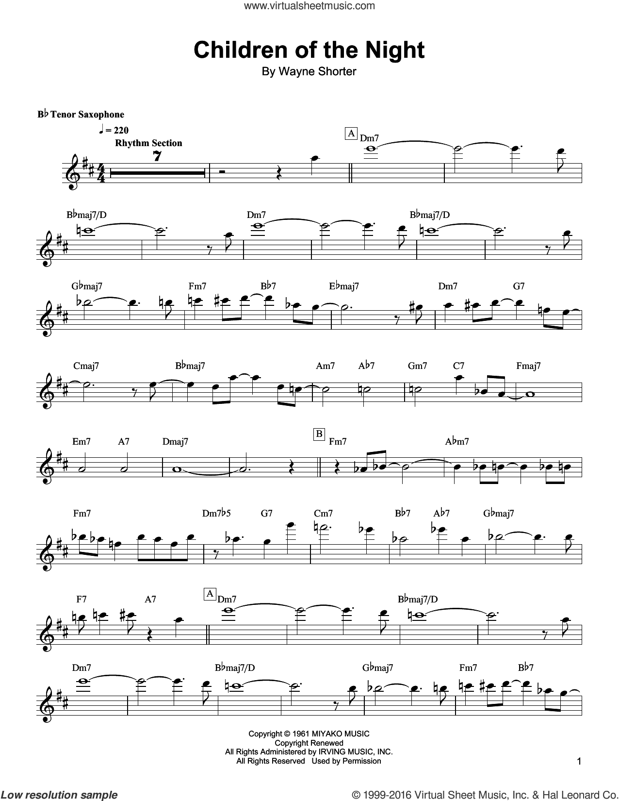 Children Of The Night sheet music for tenor saxophone solo (transcription) by Wayne Shorter, intermediate tenor saxophone (transcription)