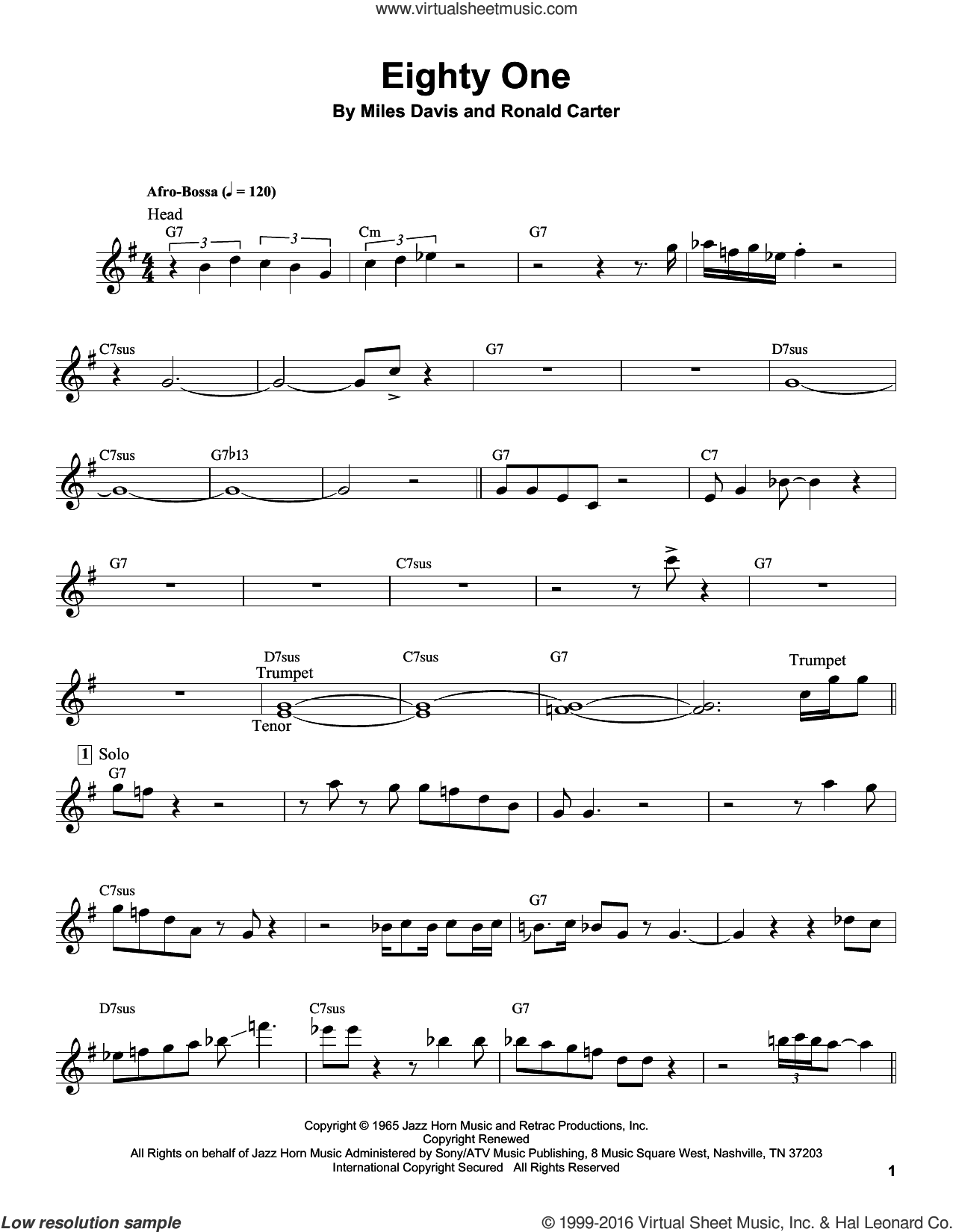 Eighty One sheet music for trumpet solo (transcription) by Miles Davis and Ronald Carter, intermediate trumpet (transcription)