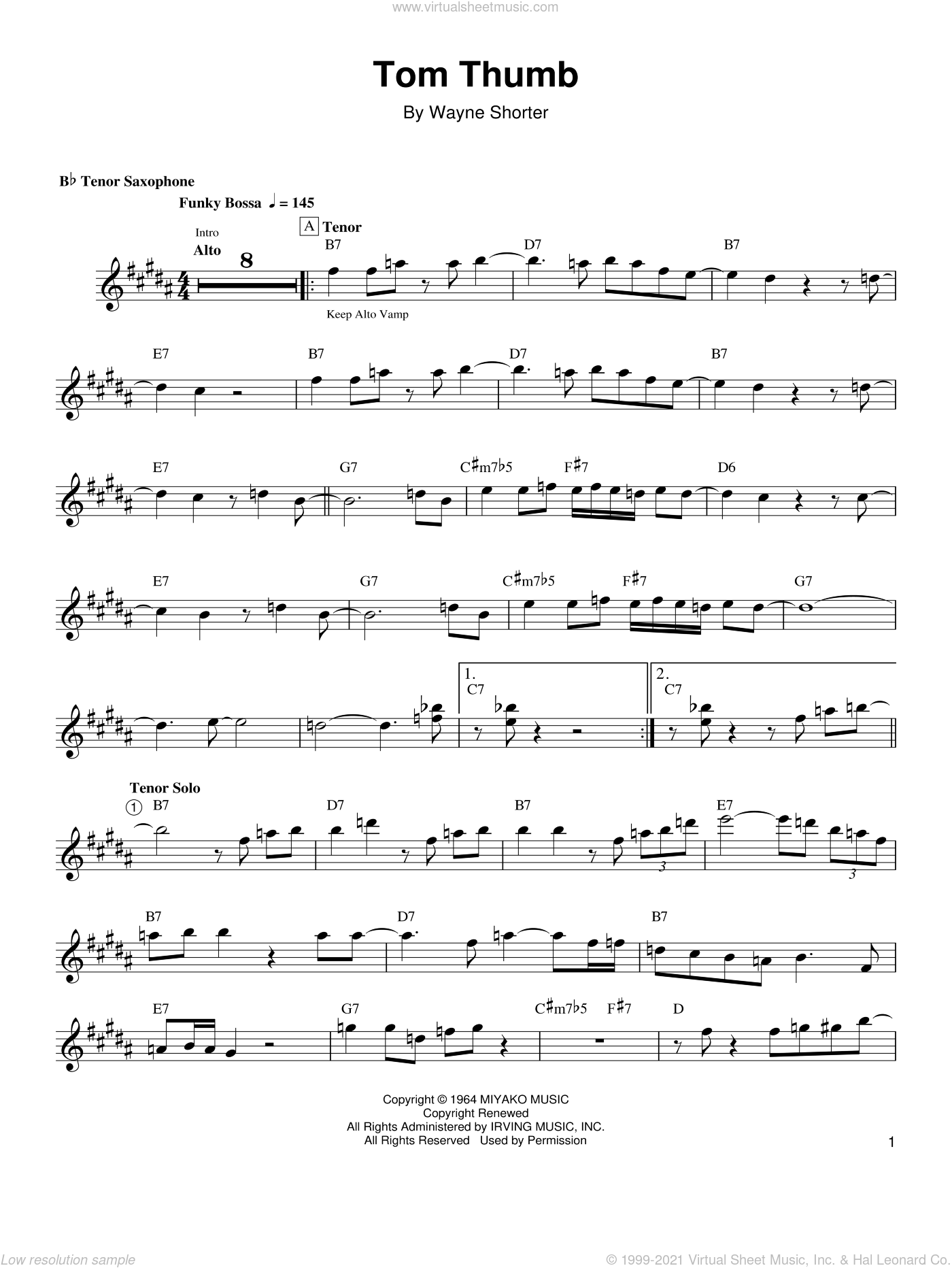 Tom Thumb sheet music for tenor saxophone solo (transcription) by Wayne Shorter. Score Image Preview.