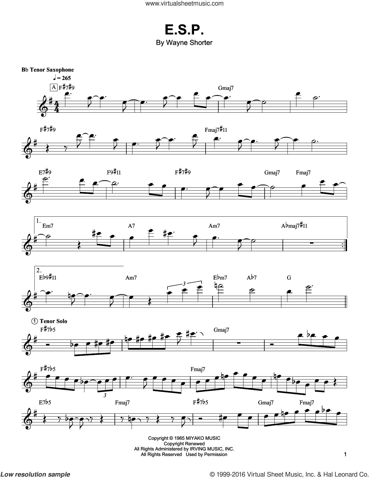 E.S.P. sheet music for tenor saxophone solo (transcription) by Wayne Shorter. Score Image Preview.
