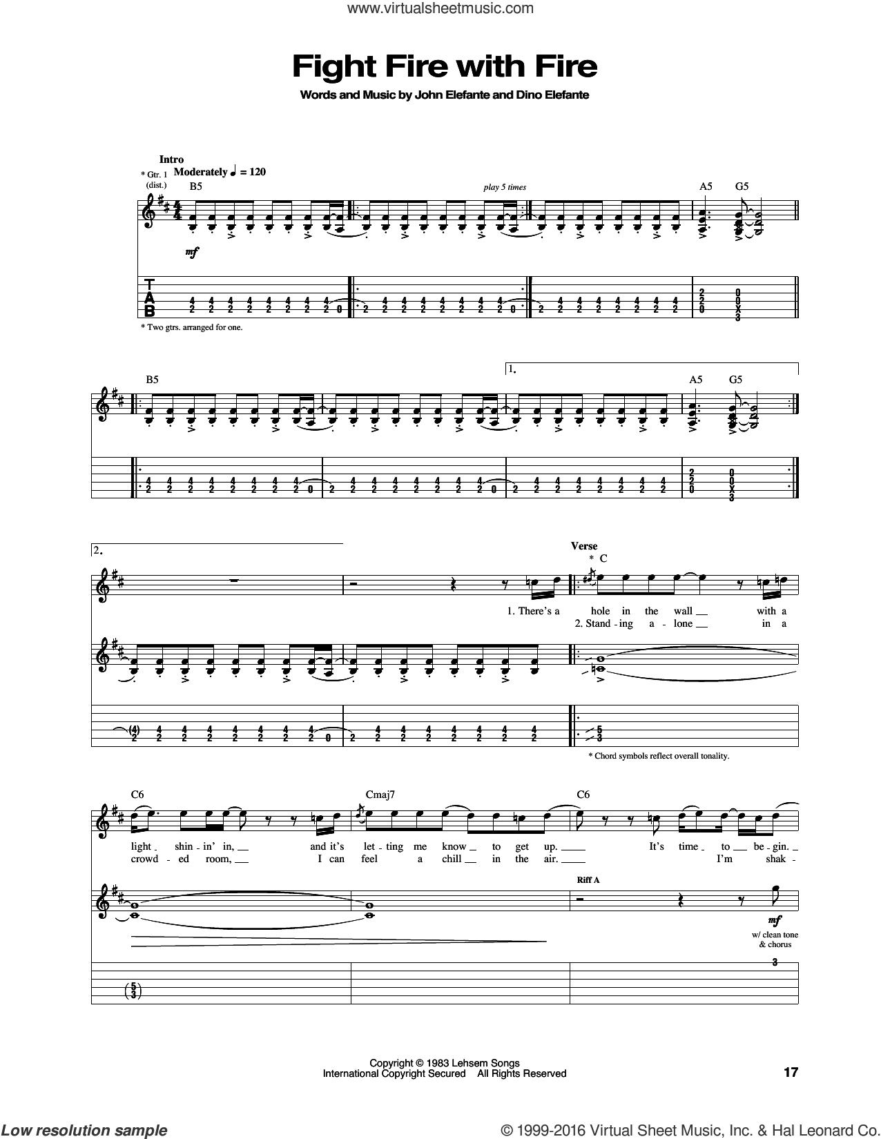 Fight Fire With Fire sheet music for guitar (tablature) by Kansas, Dino Elefante and John Elefante, intermediate