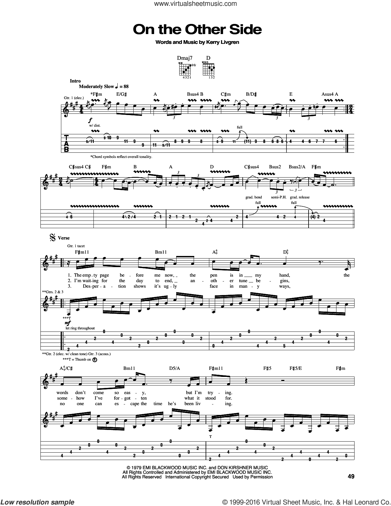 On The Other Side sheet music for guitar (tablature) by Kerry Livgren and Kansas. Score Image Preview.