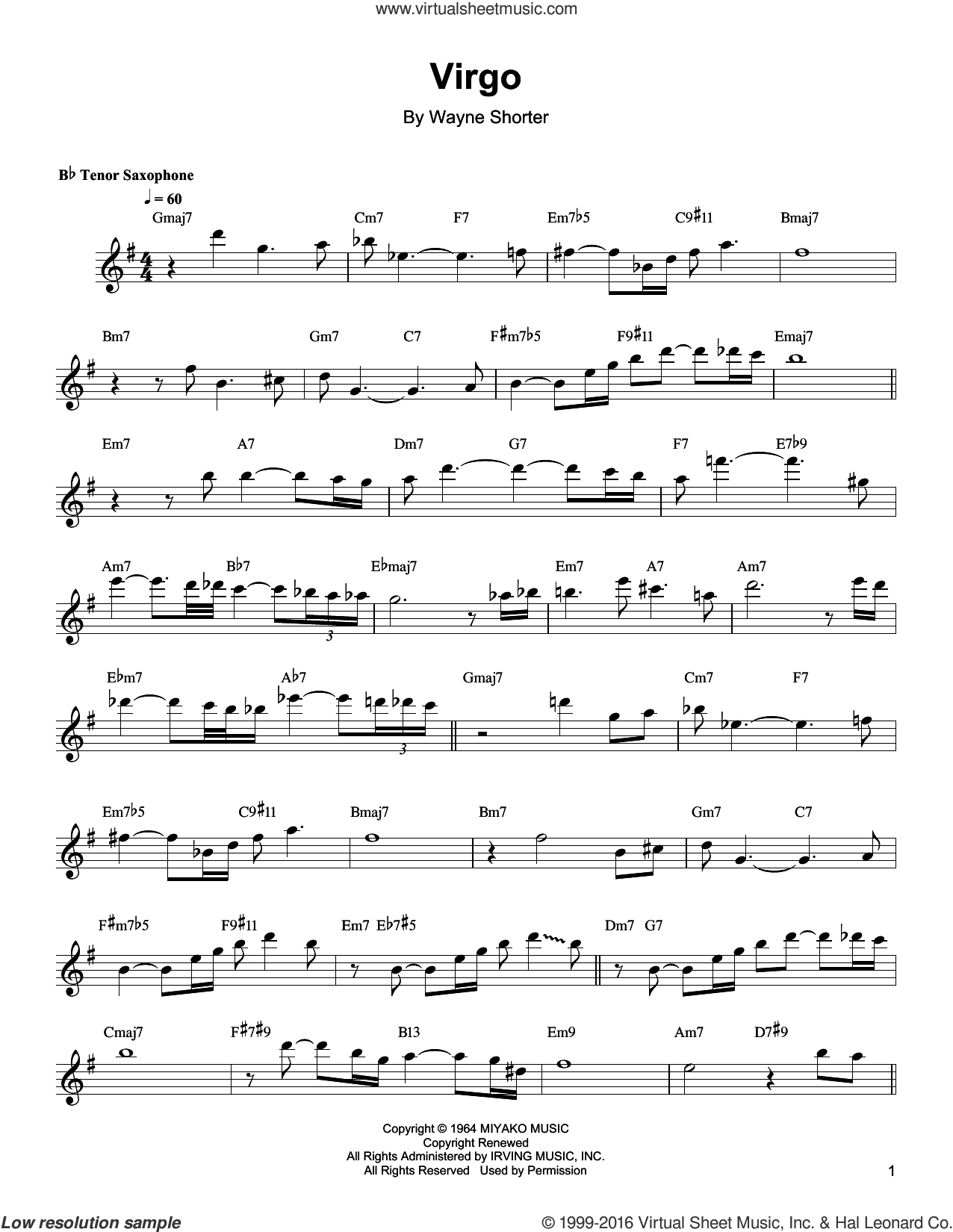 Virgo sheet music for tenor saxophone solo (transcription) by Wayne Shorter, intermediate tenor saxophone (transcription)