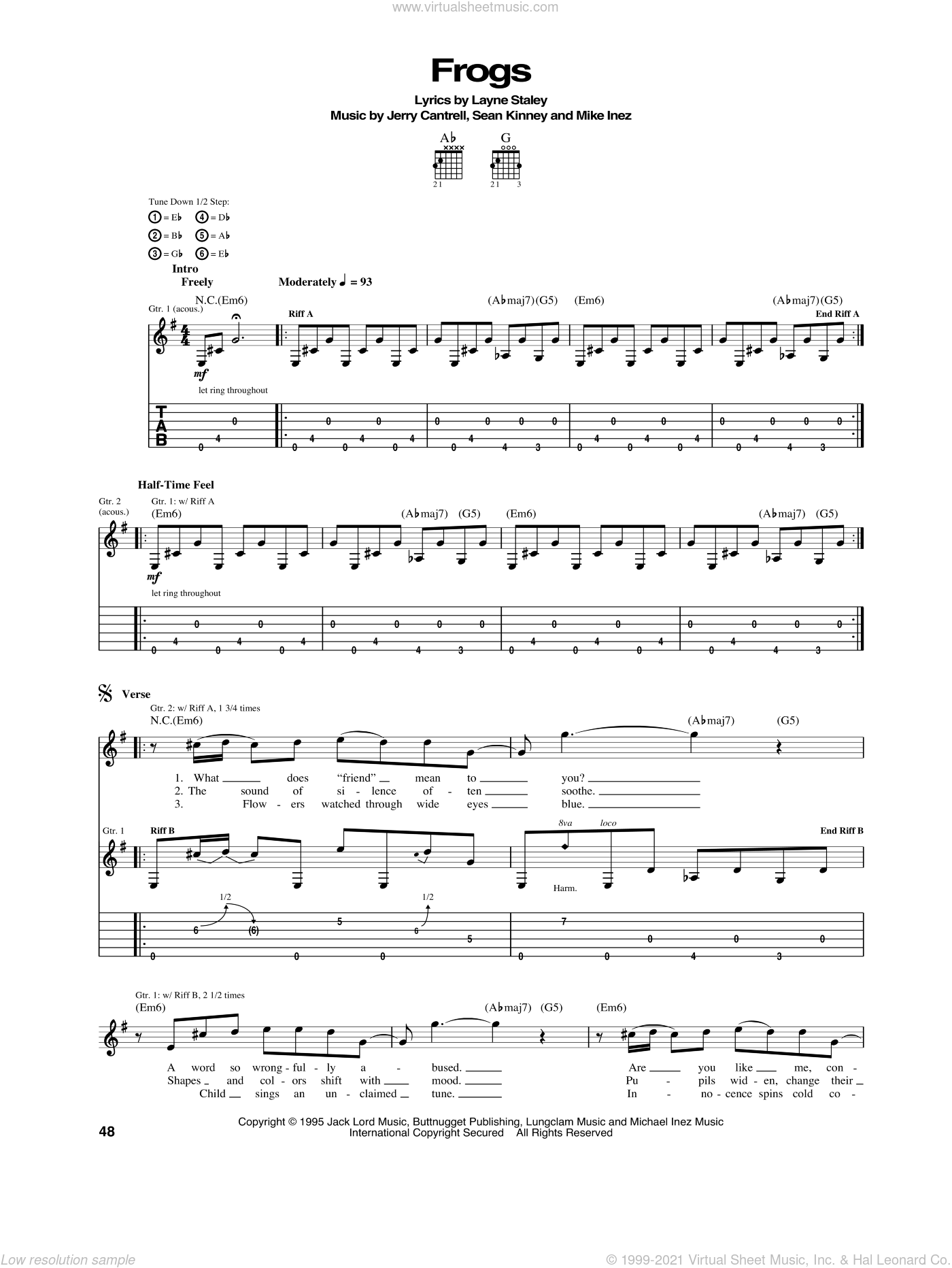 Frogs sheet music for guitar (tablature) by Alice In Chains. Score Image Preview.