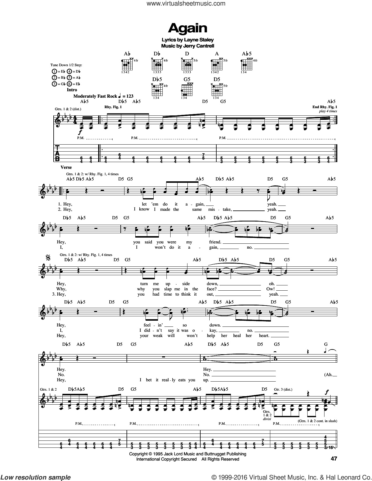 Again sheet music for guitar (tablature) by Alice In Chains, Jerry Cantrell and Layne Staley, intermediate