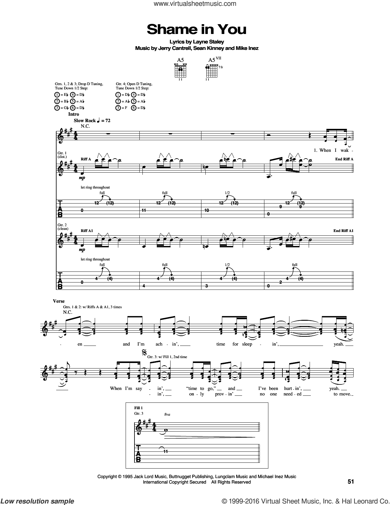 Shame In You sheet music for guitar (tablature) by Alice In Chains, Jerry Cantrell, Layne Staley, Mike Inez and Sean Kinney, intermediate