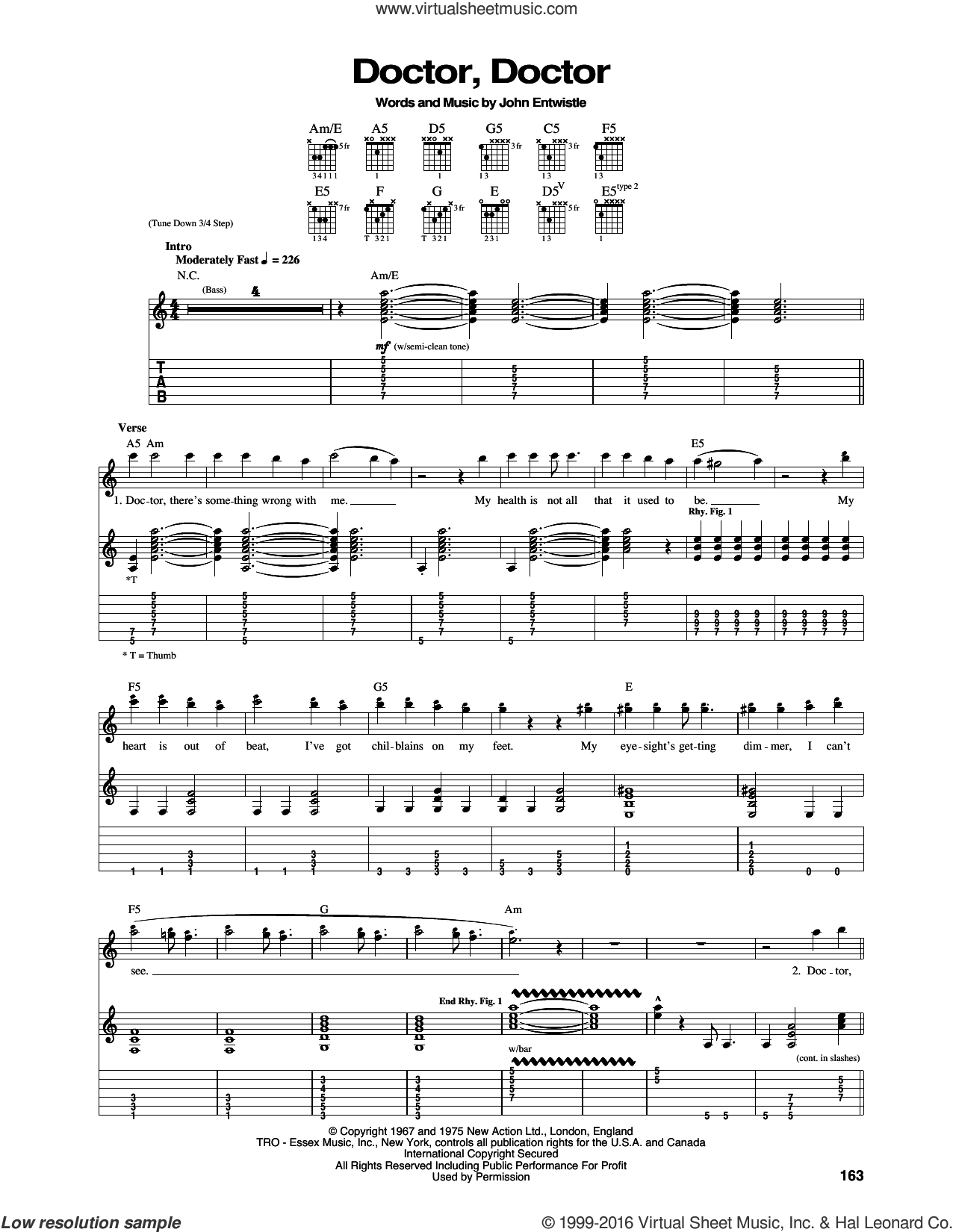 Doctor, Doctor sheet music for guitar (tablature) by The Who, intermediate