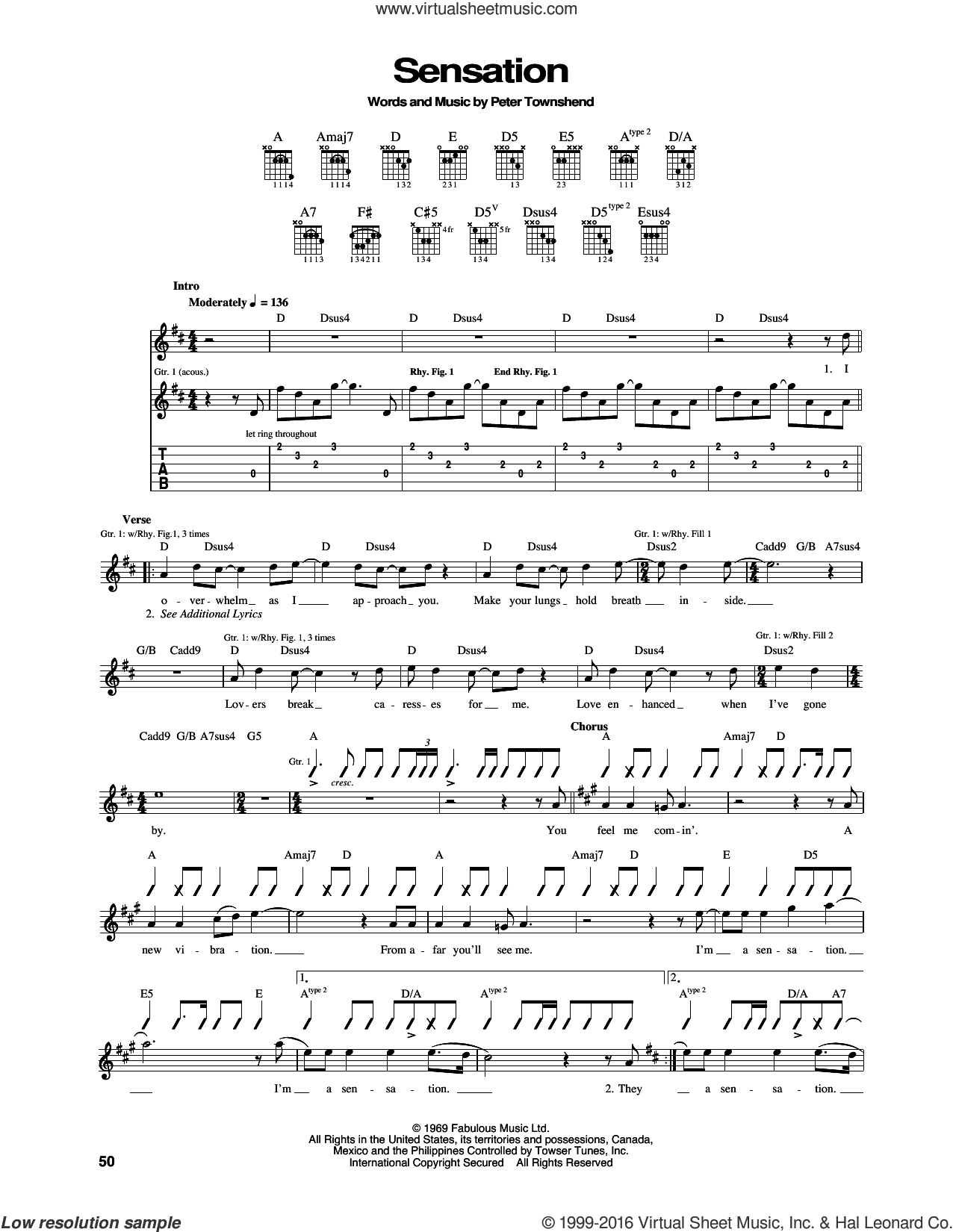 Sensation sheet music for guitar (tablature) by Pete Townshend and The Who. Score Image Preview.
