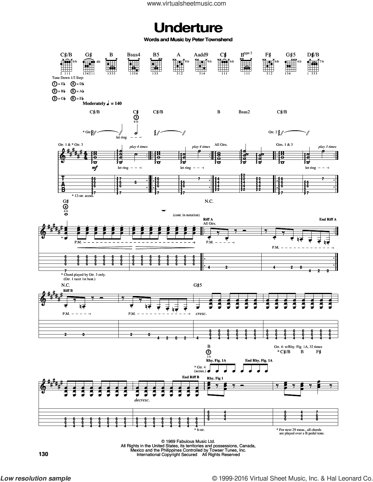 Underture sheet music for guitar (tablature) by The Who and Pete Townshend, intermediate skill level