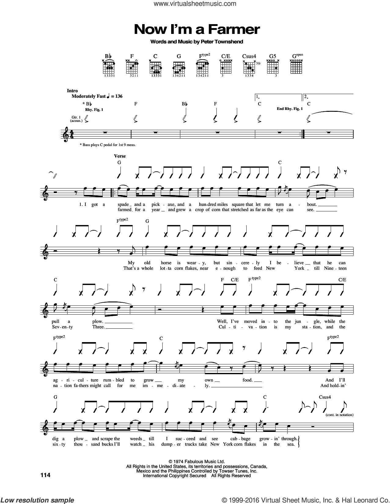 Now I'm A Farmer sheet music for guitar (tablature) by Pete Townshend and The Who. Score Image Preview.