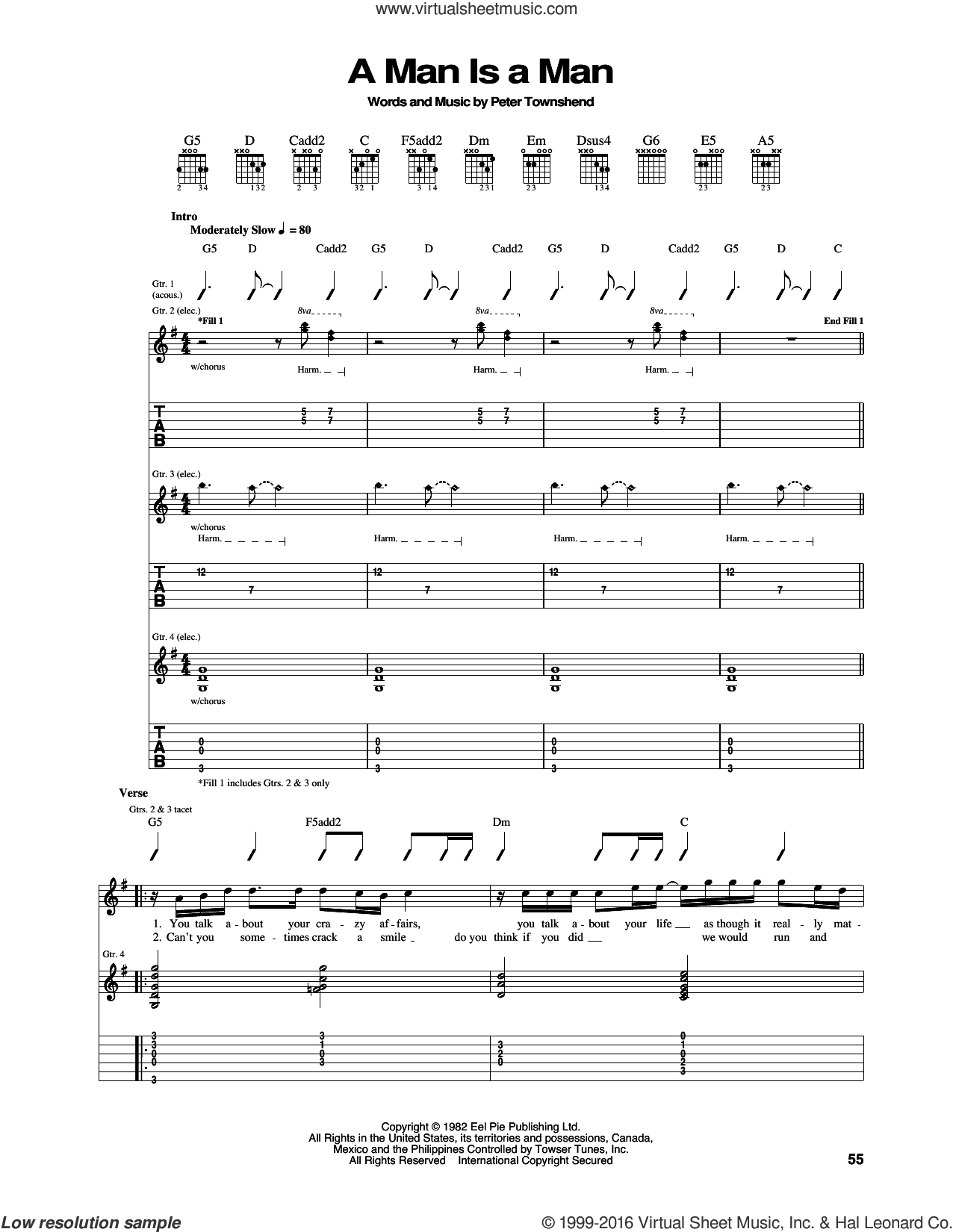 A Man Is A Man sheet music for guitar (tablature) by Pete Townshend and The Who. Score Image Preview.