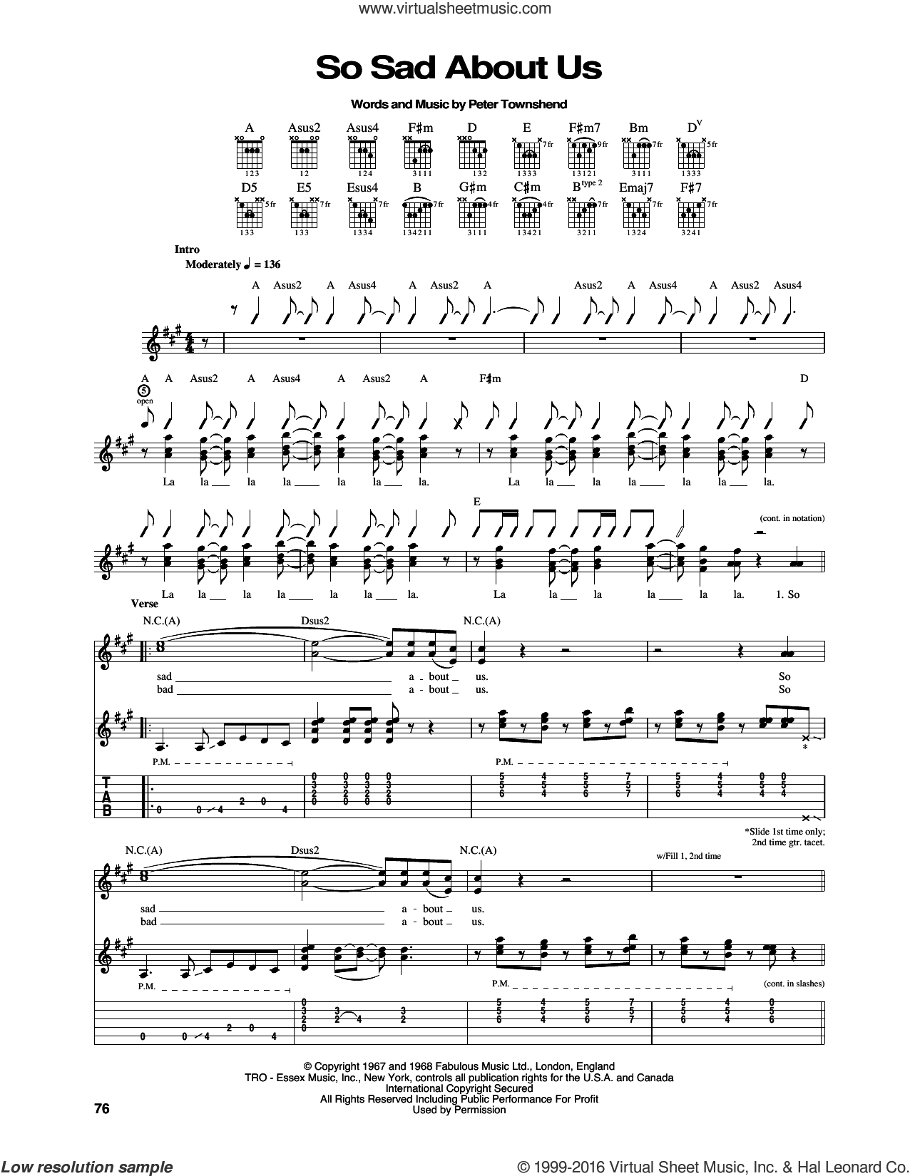So Sad About Us sheet music for guitar (tablature) by The Who and Pete Townshend, intermediate. Score Image Preview.