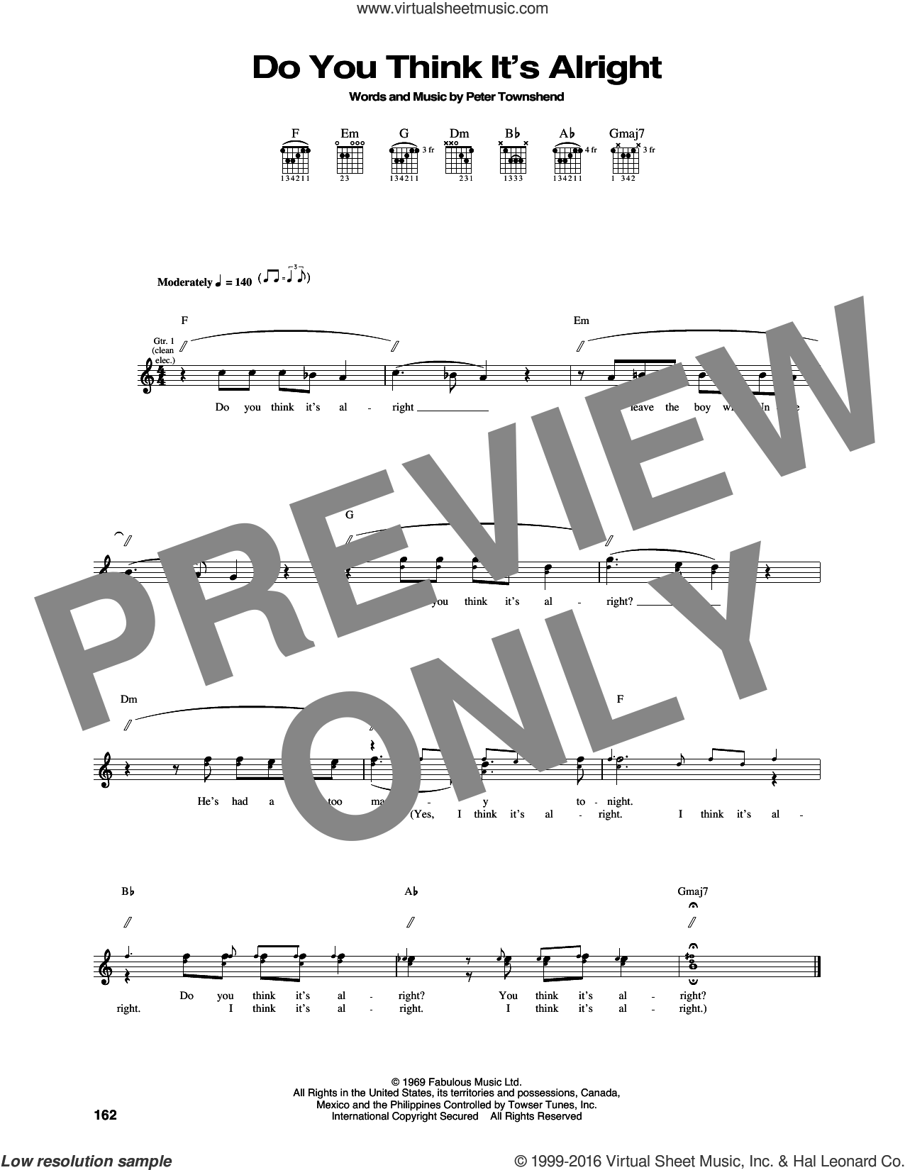Do You Think It's Alright sheet music for guitar (tablature) by The Who and Pete Townshend, intermediate. Score Image Preview.