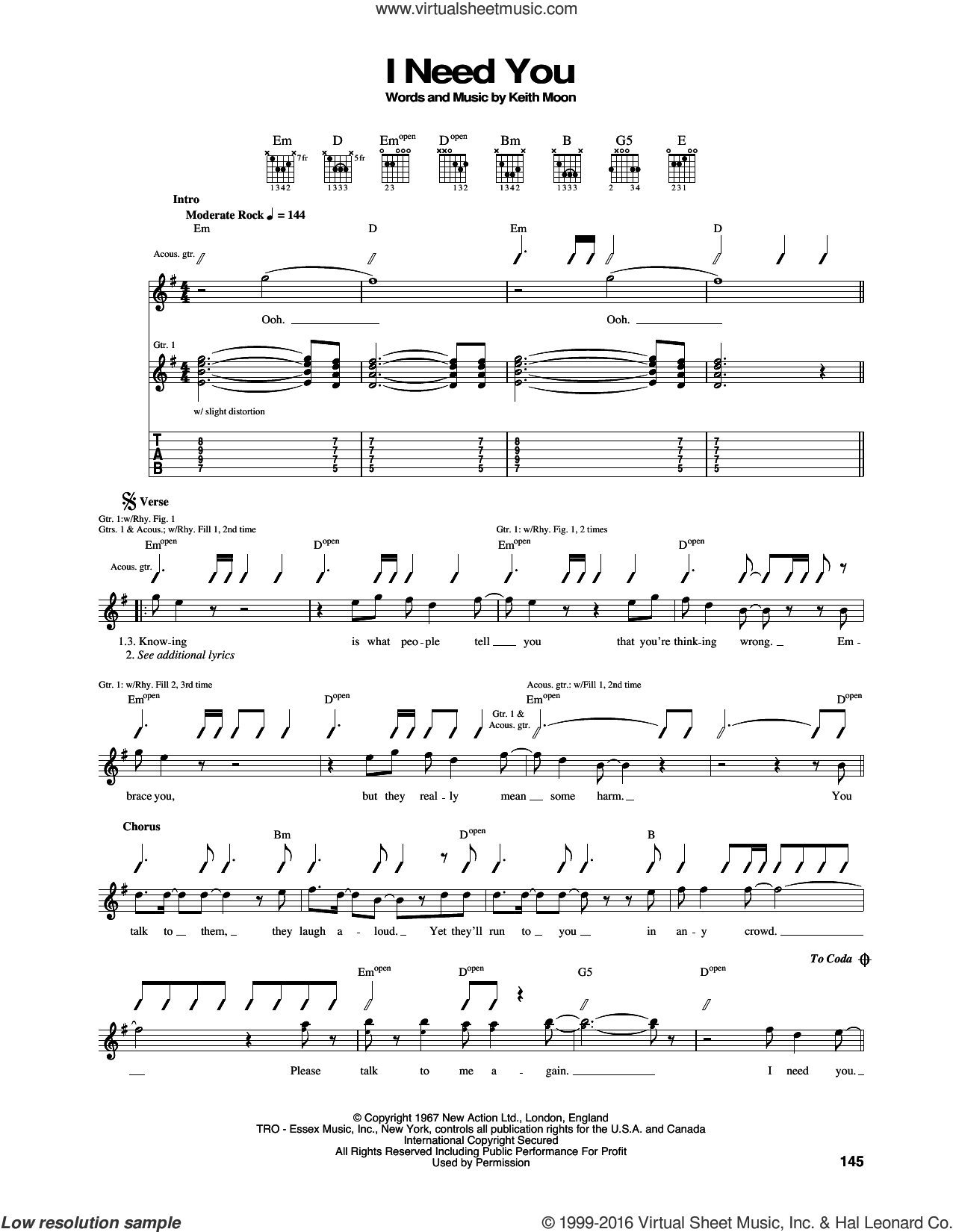 I Need You sheet music for guitar (tablature) by Keith Moon and The Who. Score Image Preview.