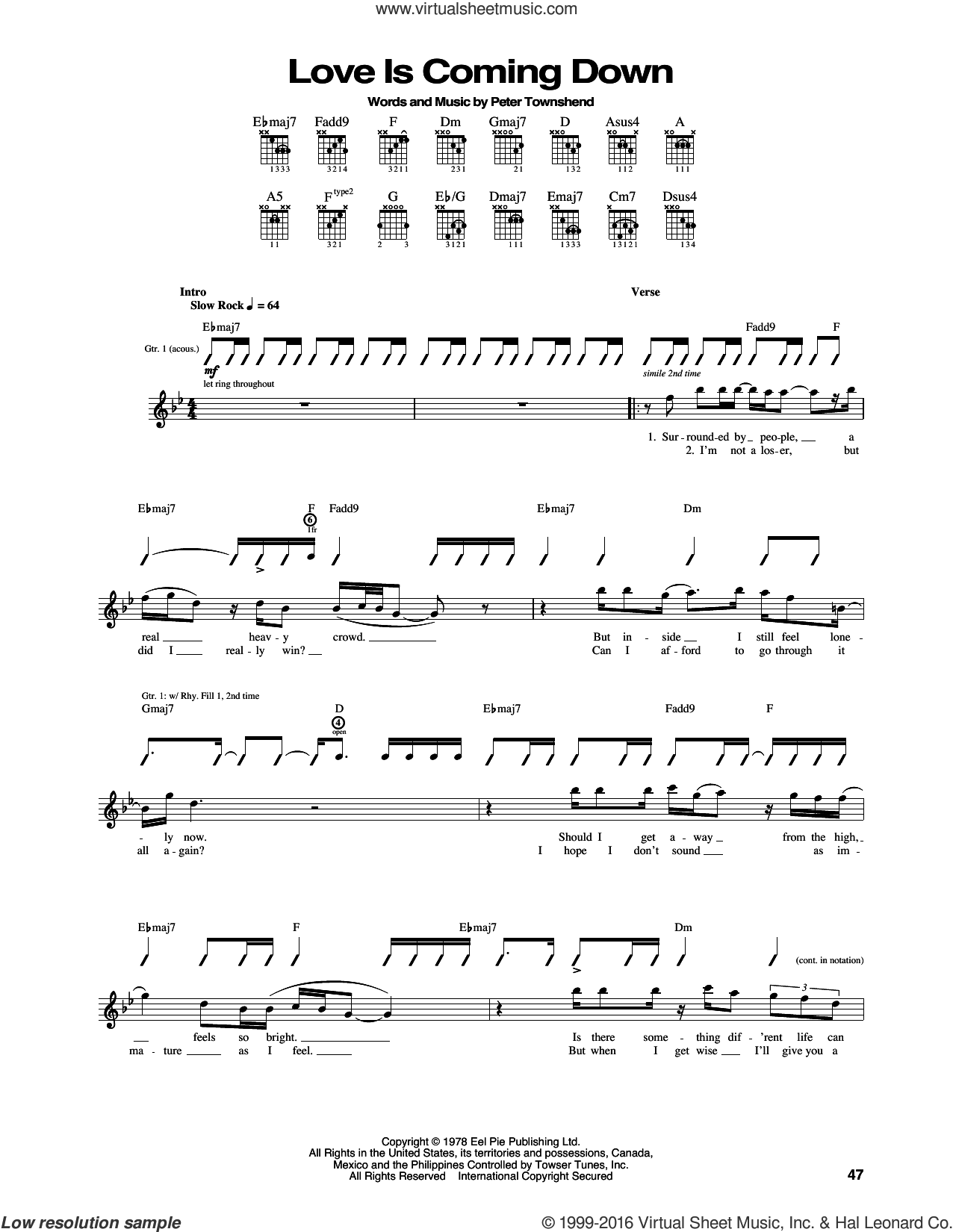 Love Is Coming Down sheet music for guitar (tablature) by The Who and Pete Townshend. Score Image Preview.