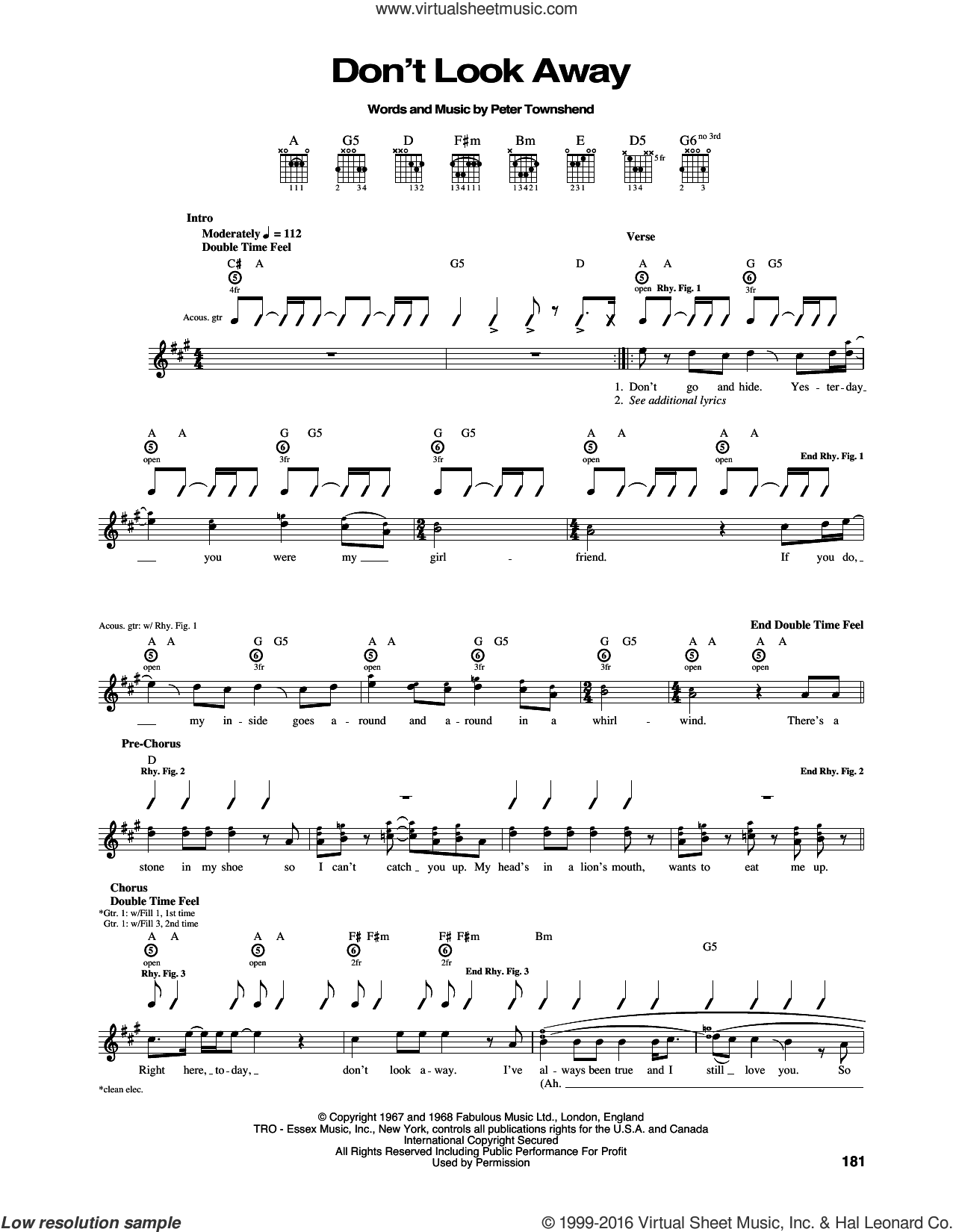 Don't Look Away sheet music for guitar (tablature) by The Who and Pete Townshend, intermediate