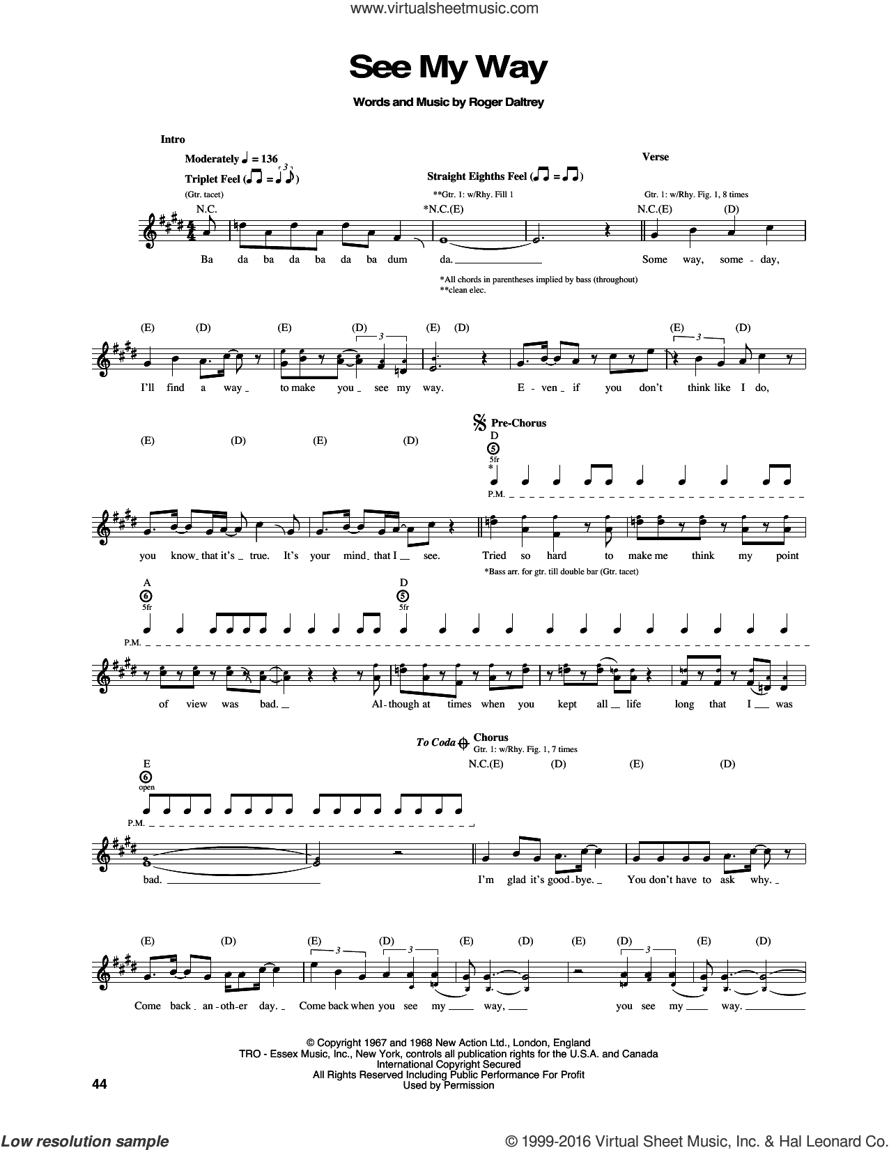 See My Way sheet music for guitar (tablature) by Pete Townshend and The Who. Score Image Preview.