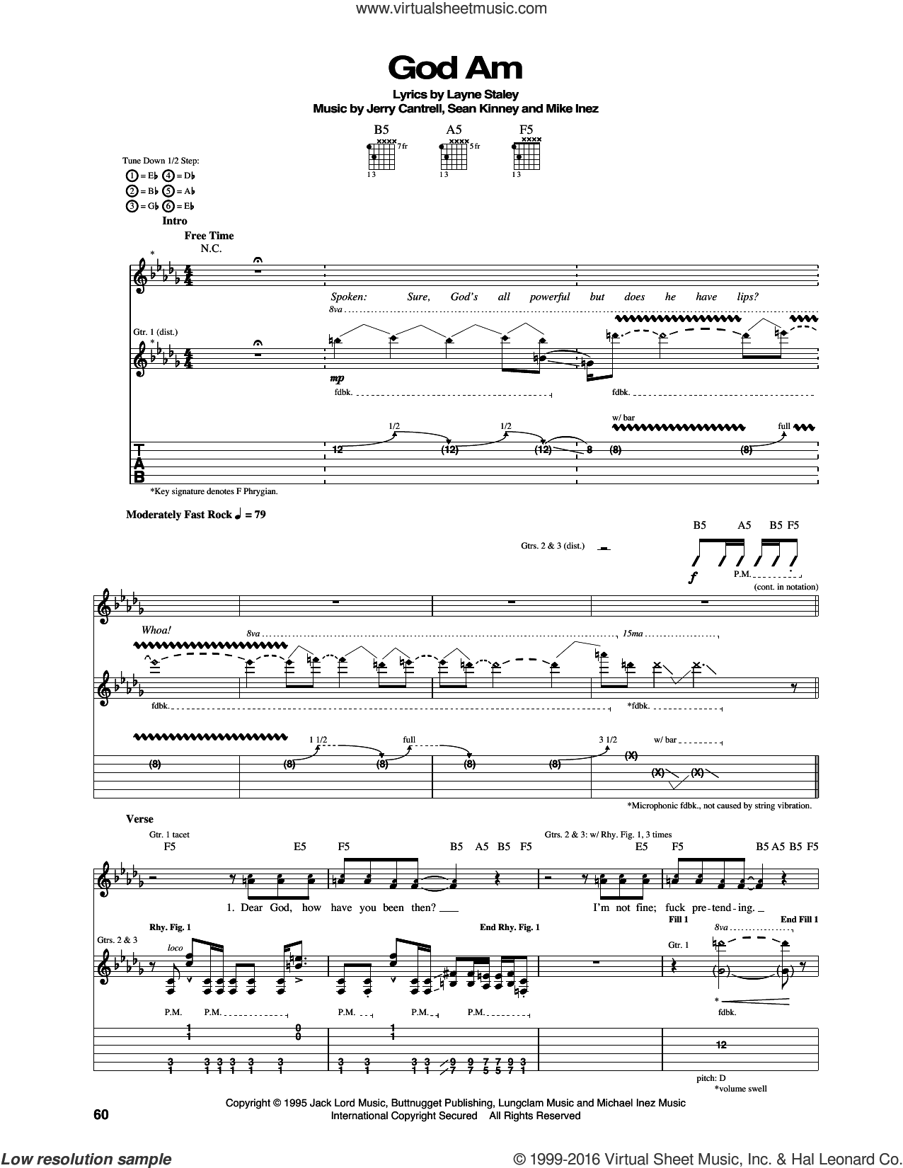 God Am sheet music for guitar (tablature) by Alice In Chains, Jerry Cantrell, Layne Staley, Mike Inez and Sean Kinney, intermediate skill level