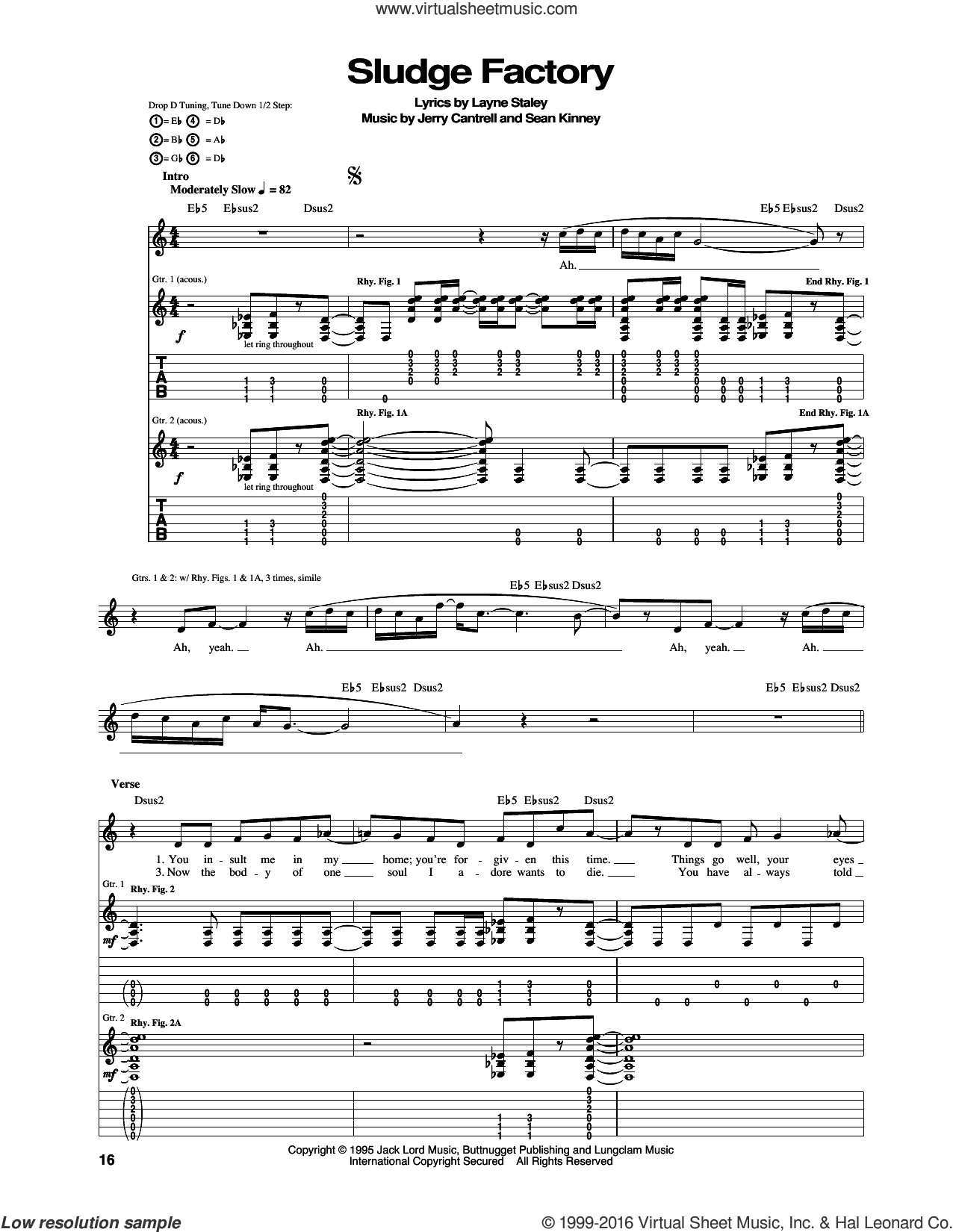 Sludge Factory sheet music for guitar (tablature) by Alice In Chains. Score Image Preview.