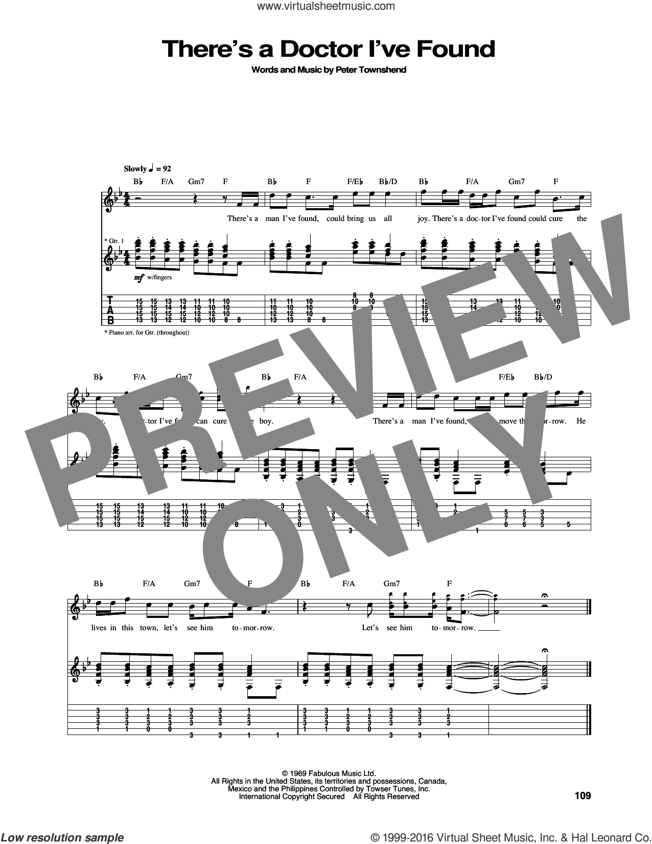 There's A Doctor I've Found sheet music for guitar (tablature) by The Who and Pete Townshend, intermediate