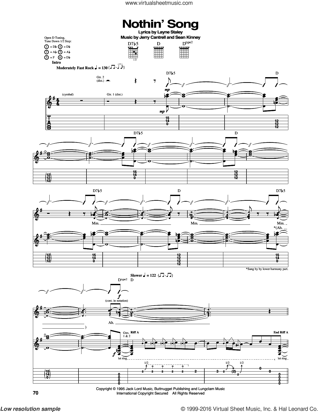 Nothin' Song sheet music for guitar (tablature) by Sean Kinney, Alice In Chains, Jerry Cantrell and Layne Staley. Score Image Preview.