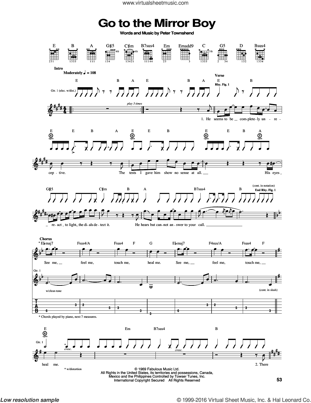 Go To The Mirror Boy sheet music for guitar (tablature) by The Who and Pete Townshend. Score Image Preview.