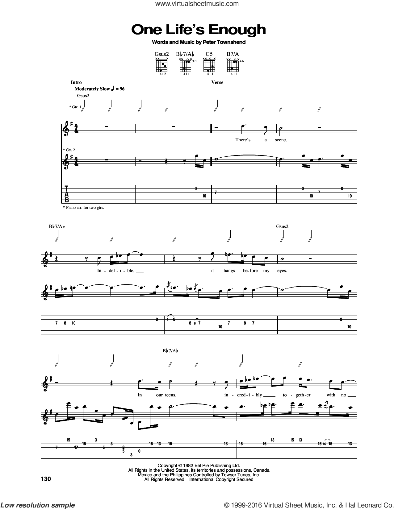 One Life's Enough sheet music for guitar (tablature) by The Who and Pete Townshend, intermediate skill level