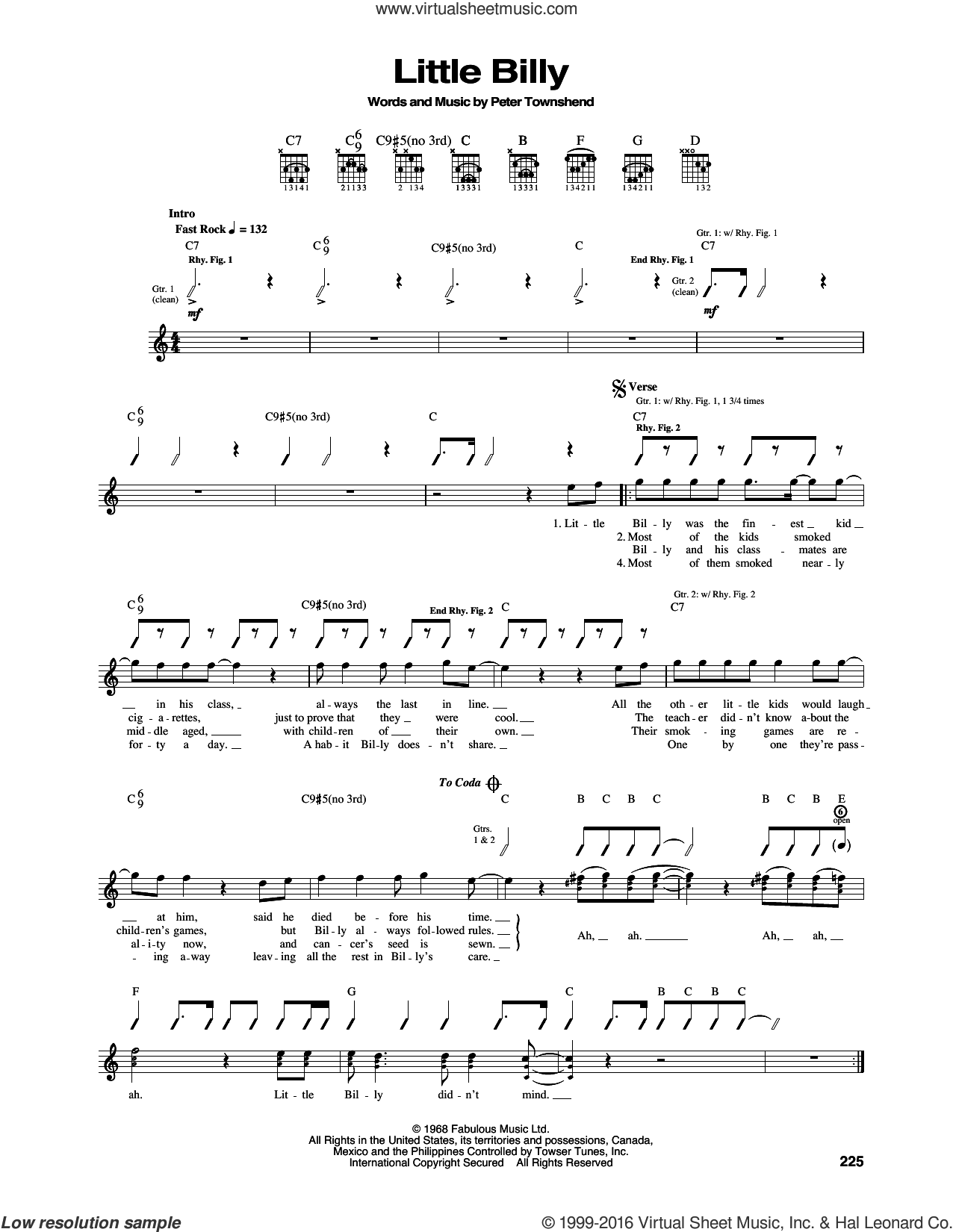 Little Billy sheet music for guitar (tablature) by Pete Townshend and The Who. Score Image Preview.