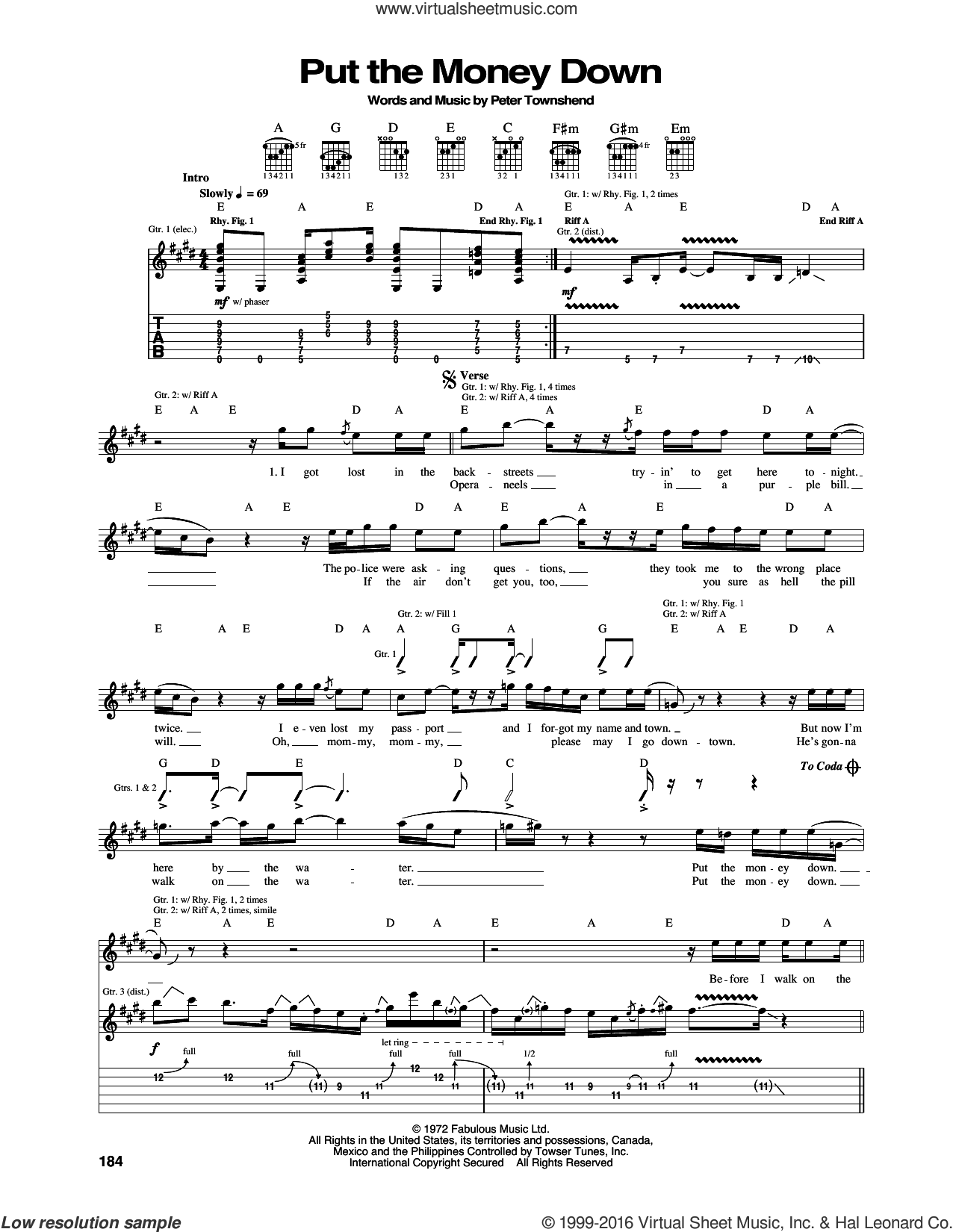 Put The Money Down sheet music for guitar (tablature) by Pete Townshend and The Who. Score Image Preview.