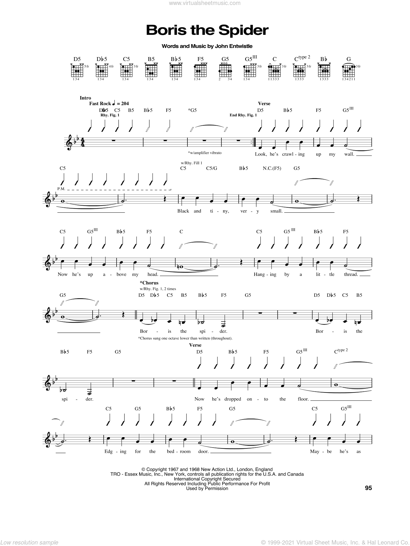 Boris The Spider sheet music for guitar (tablature) by John Entwistle and The Who. Score Image Preview.