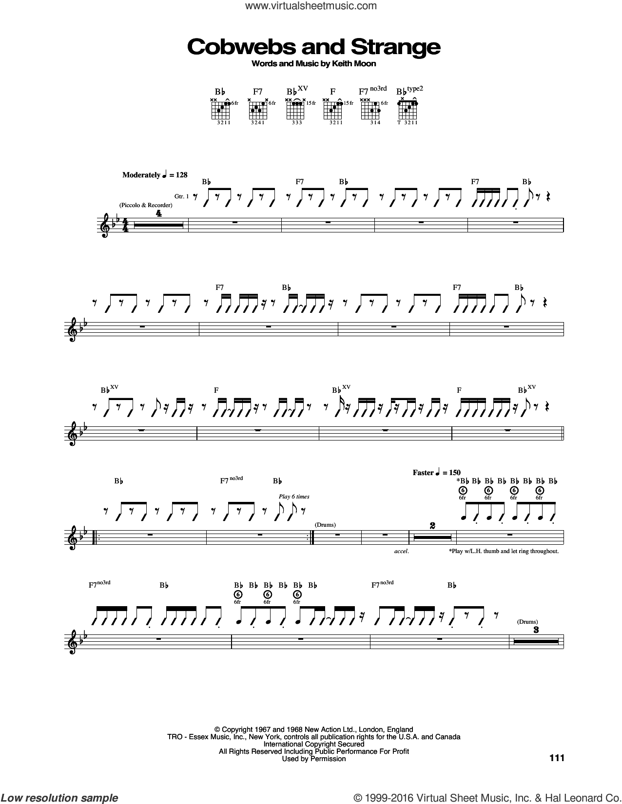 Cobwebs And Strange sheet music for guitar (tablature) by The Who, intermediate. Score Image Preview.