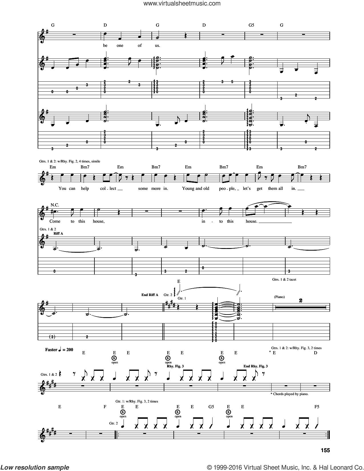 Welcome sheet music for guitar (tablature) by The Who and Pete Townshend, intermediate skill level