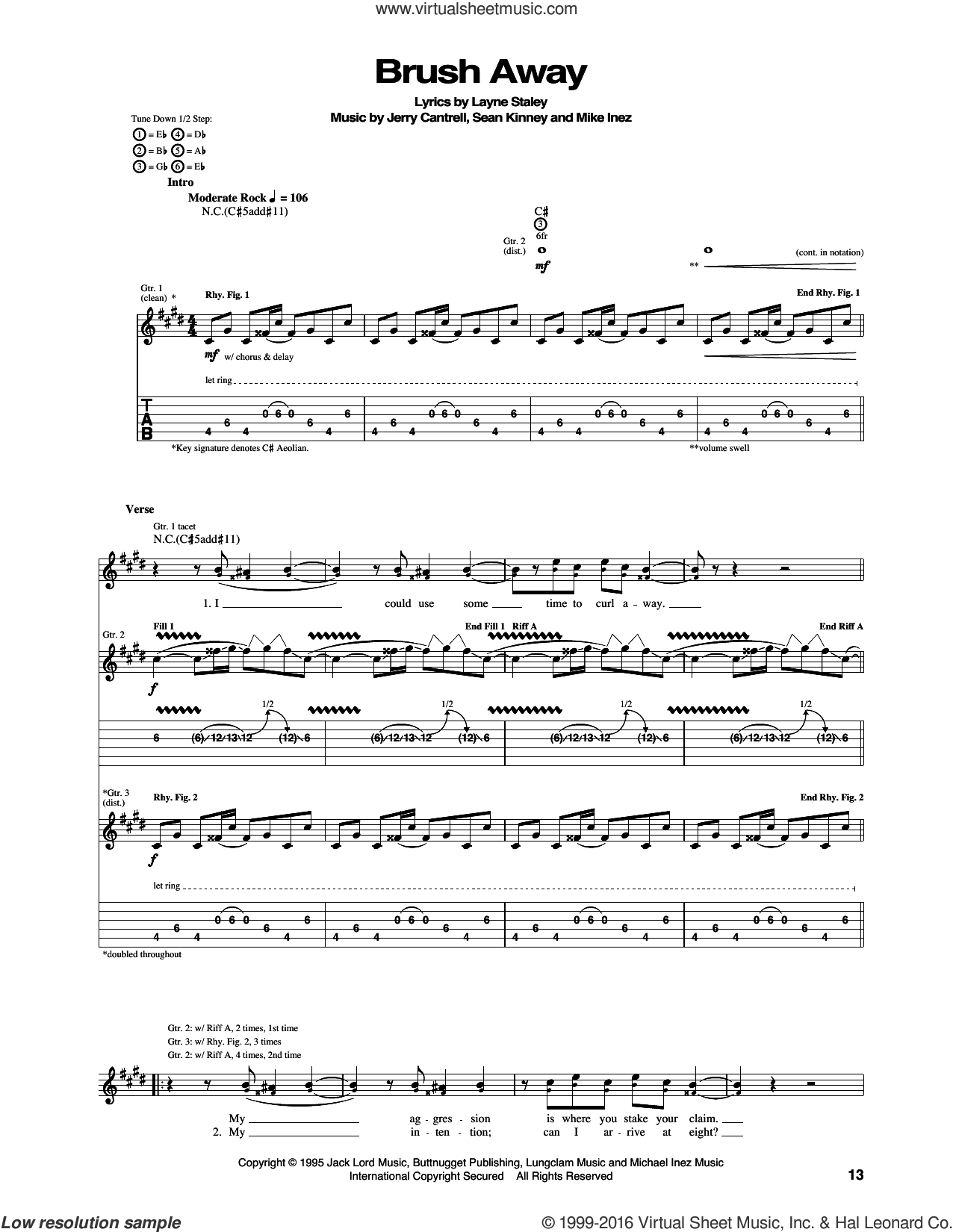 Brush Away sheet music for guitar (tablature) by Sean Kinney, Alice In Chains, Jerry Cantrell, Layne Staley and Mike Inez. Score Image Preview.