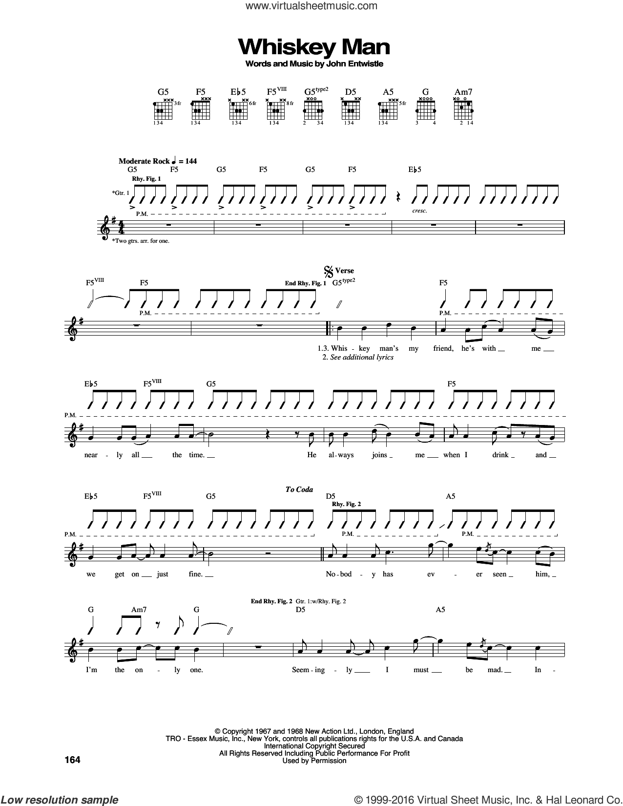 Whiskey Man sheet music for guitar (tablature) by The Who, intermediate. Score Image Preview.