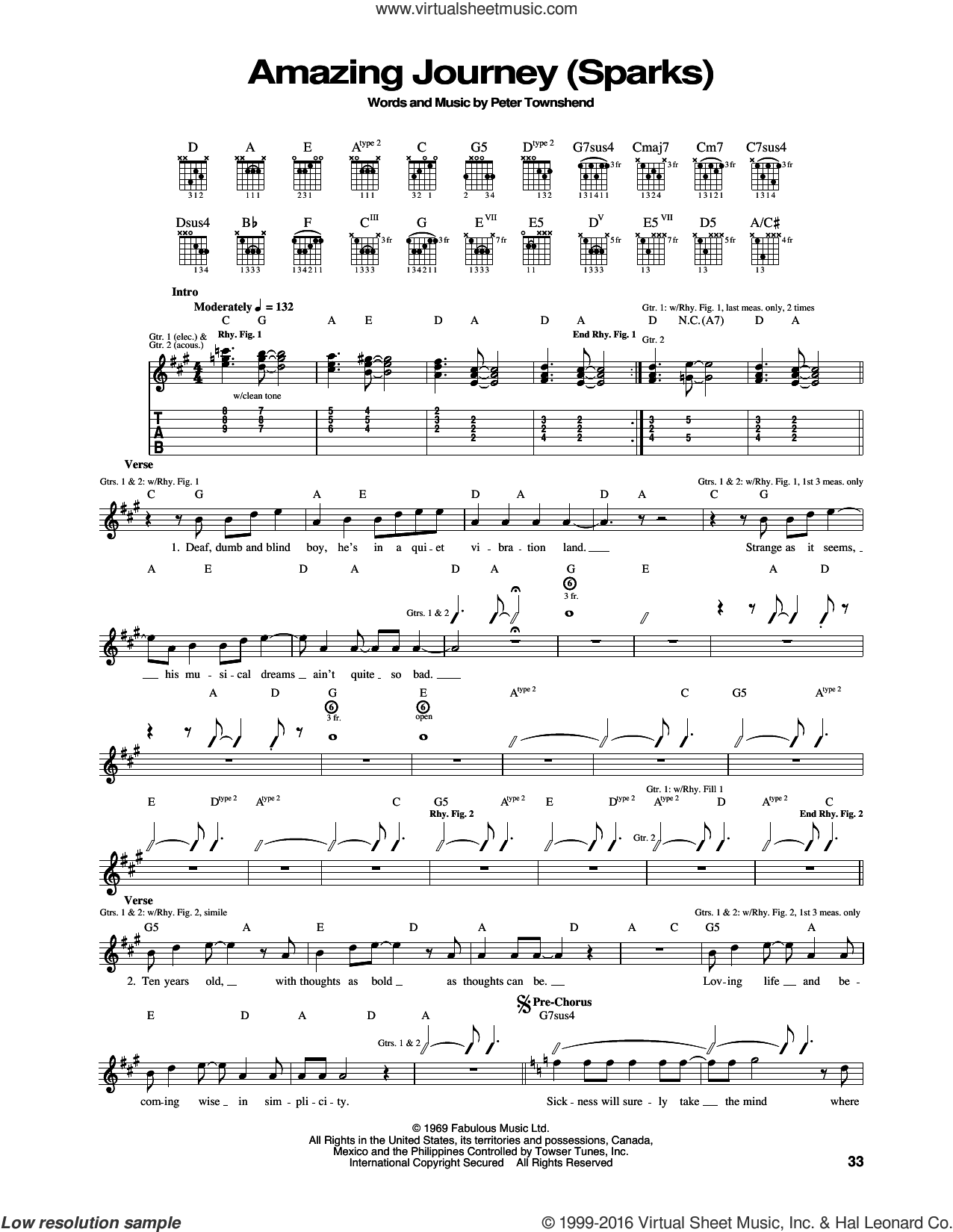 Amazing Journey sheet music for guitar (tablature) by The Who and Pete Townshend. Score Image Preview.